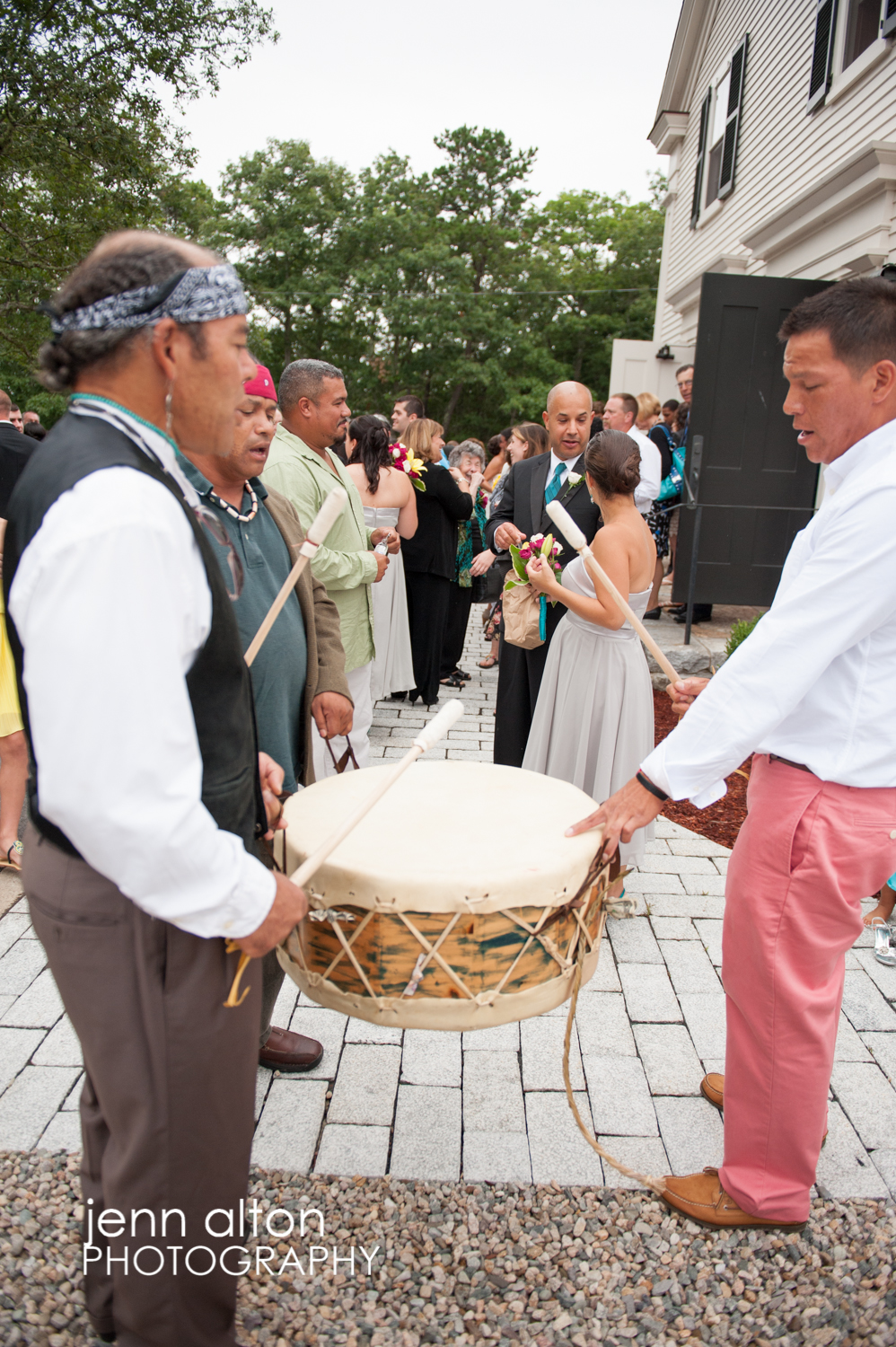 drummers and guests of a Cape Cod Wedding, Mashpee Old Indian Meeting House