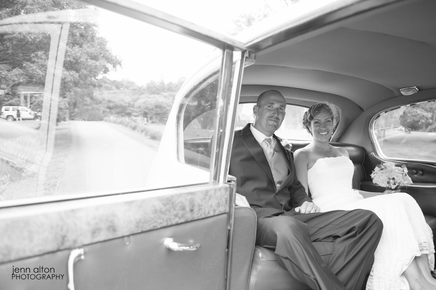 Bride and groom in Rolls Royce, Cape Cod Wedding, Mashpee Old Indian Meeting House