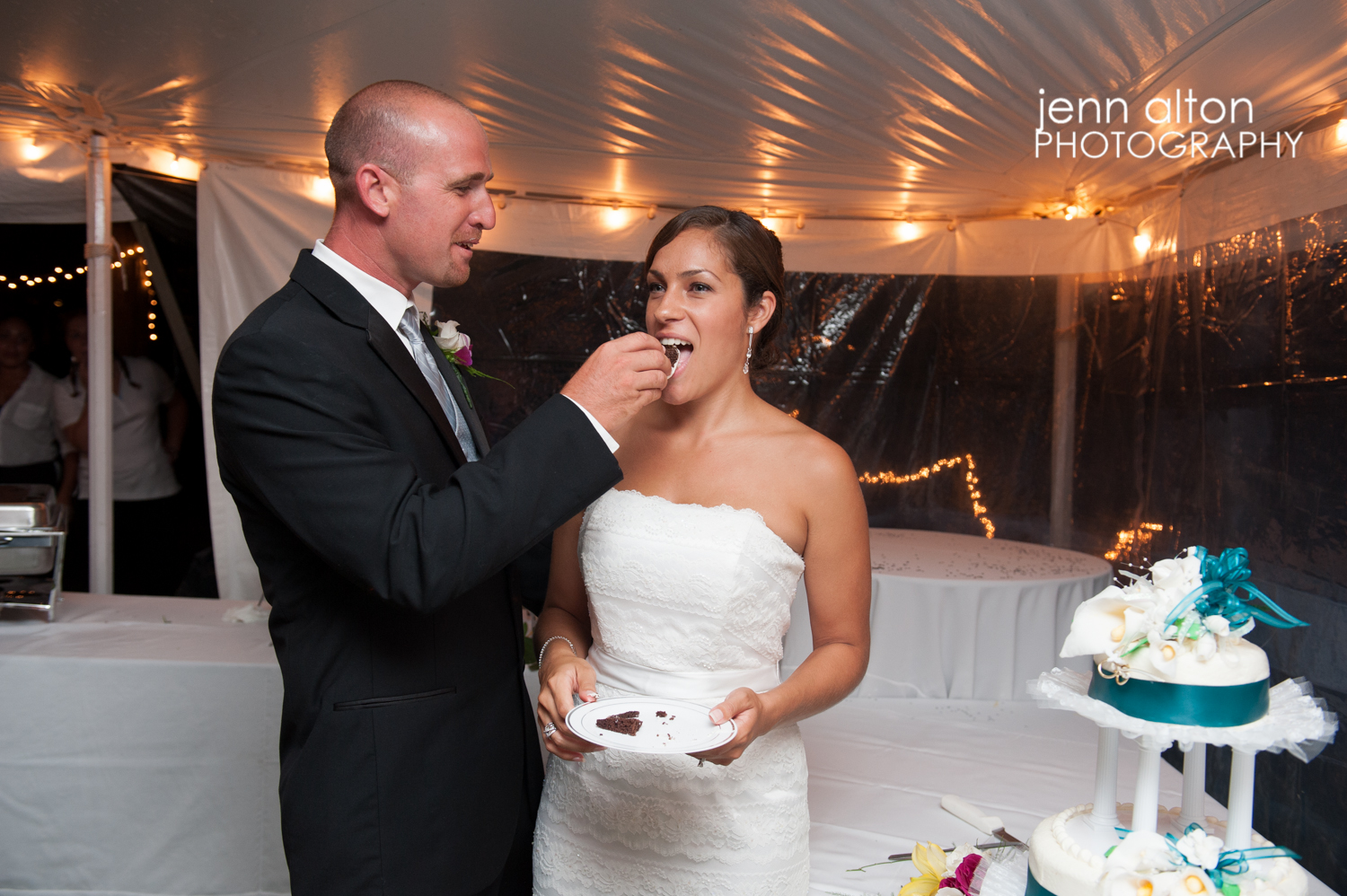 Cake Cutting, bride and groom, backyard reception, Cape Cod