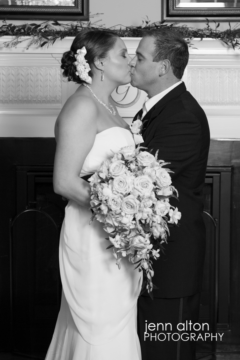 Bride and Groom portrait kissing, Cruise Port, Gloucester, MA