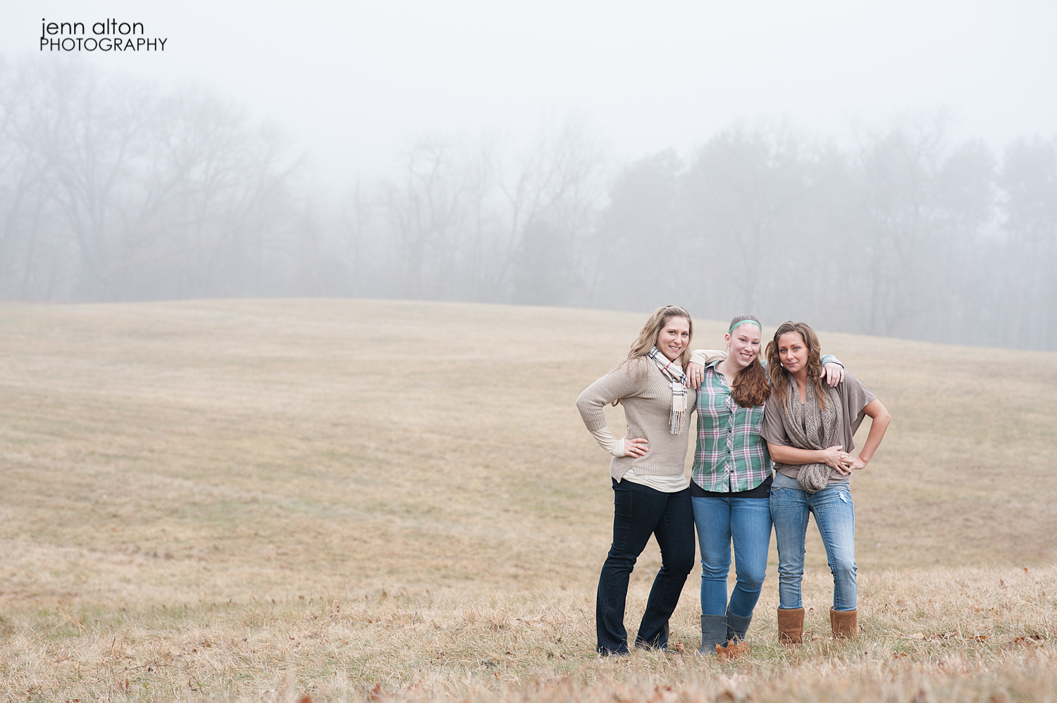 Three sisters outdoor portrait pose, Maudsley Park, Newburyport, MA
