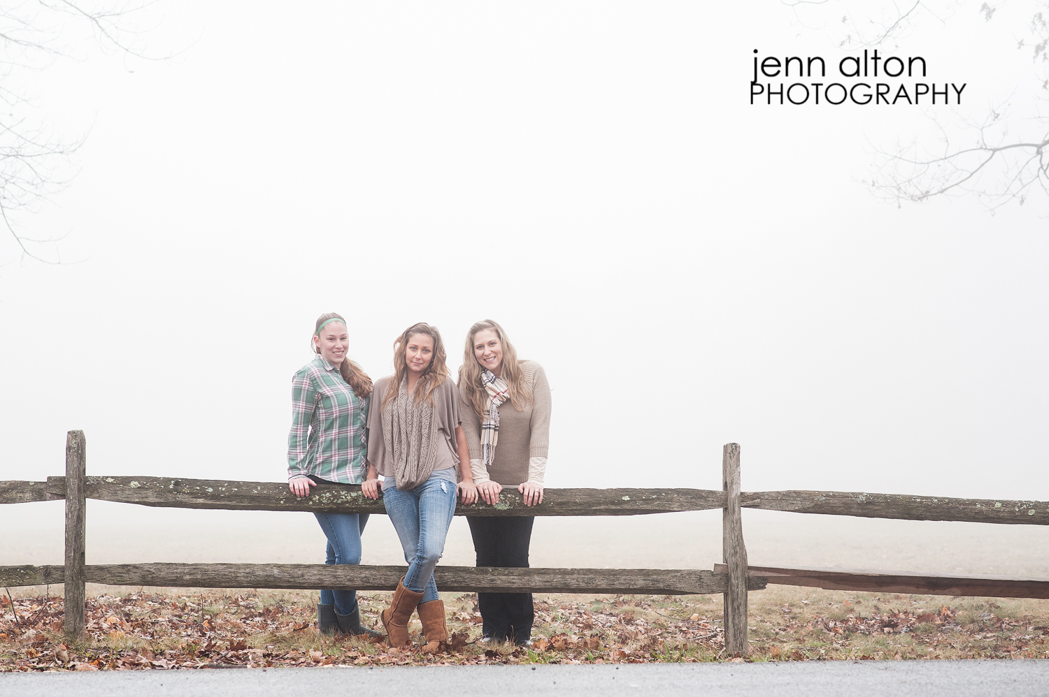 Three sisters outdoor portrait pose, Maudsley Park, Newburyport, MA split rail fence