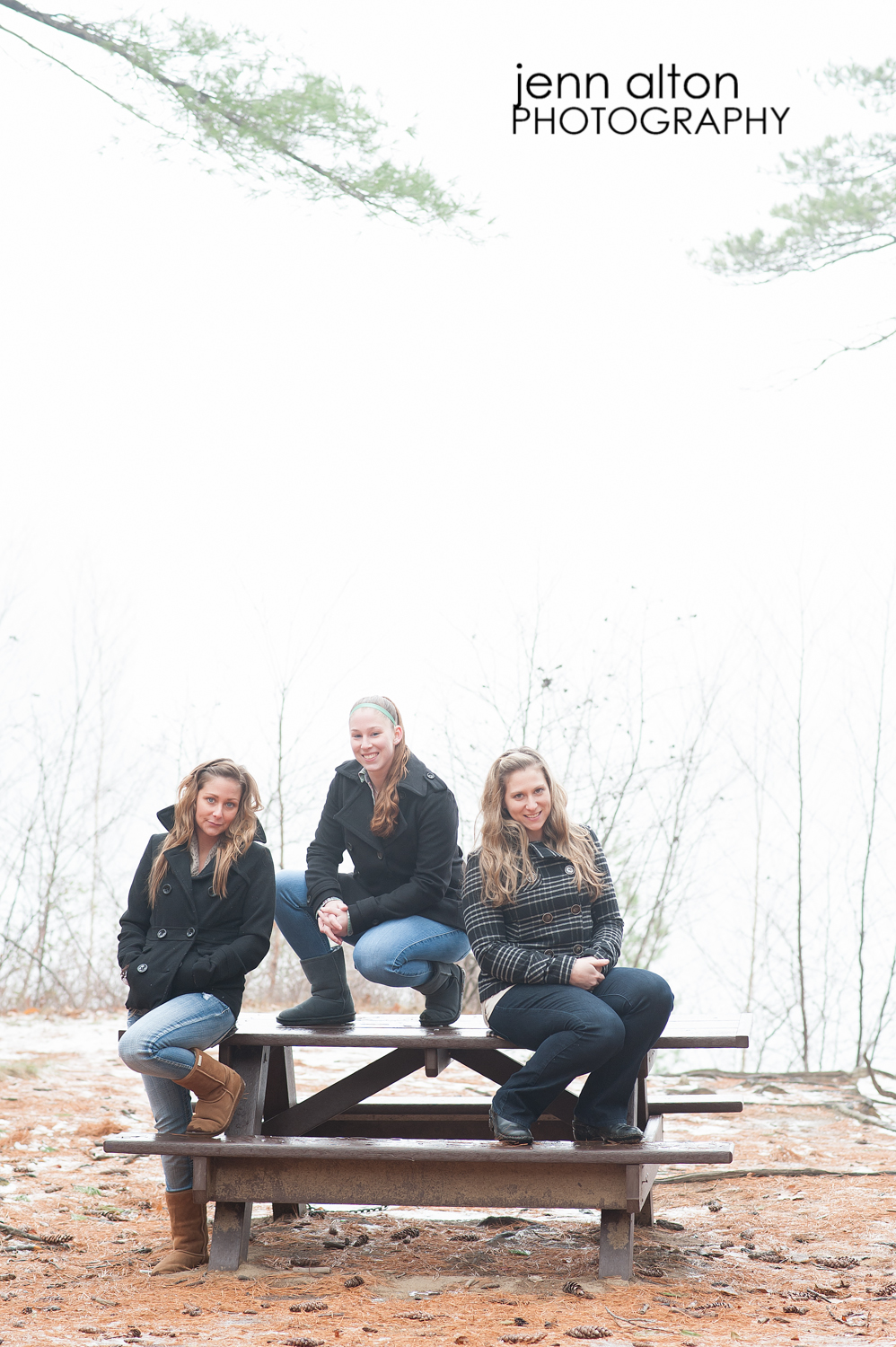 Three sisters outdoor portrait pose, Maudsley Park, Newburyport, MA picnic table