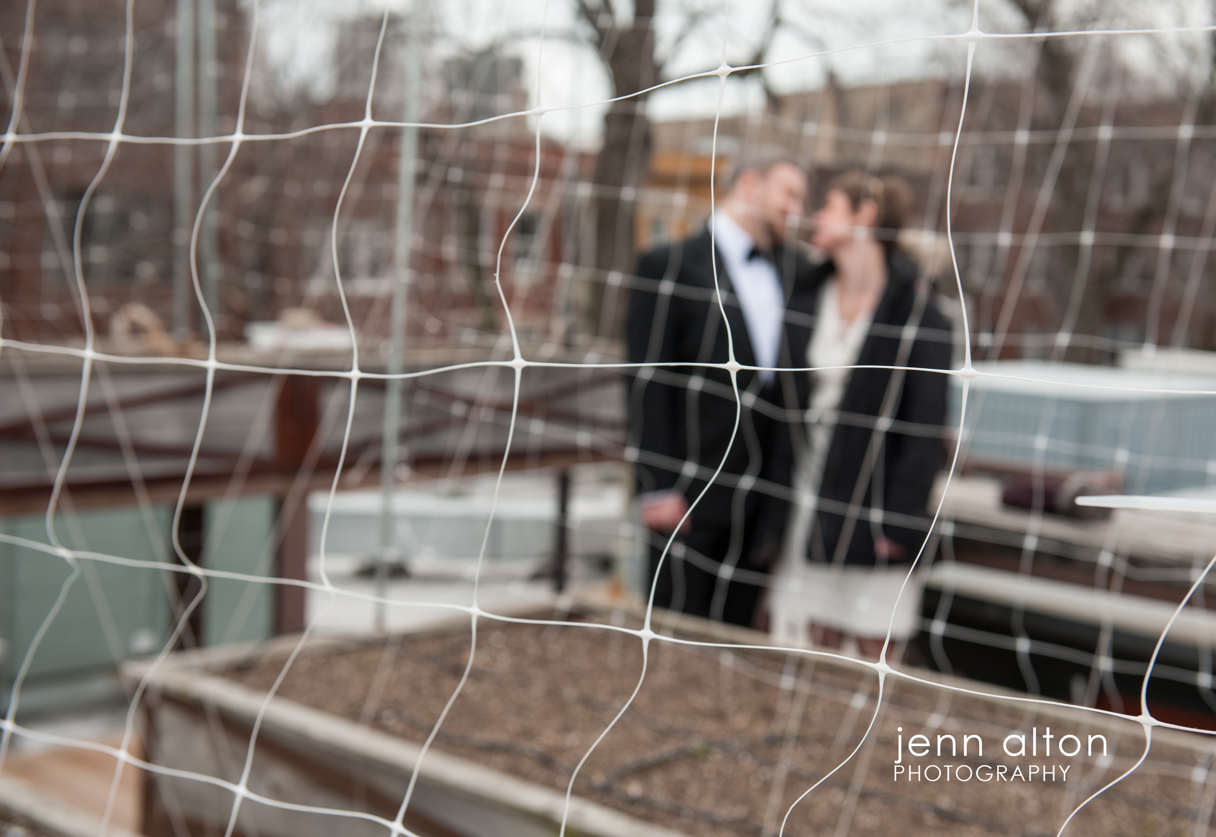 Bride and groom before the ceremony, Uncommon Ground on Devon, roof deck