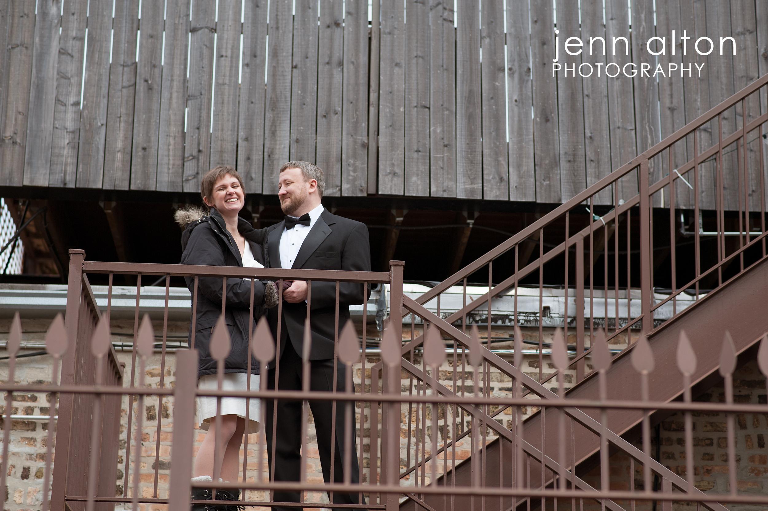 Bride and Groom , Uncommon Ground on Devon, stair case