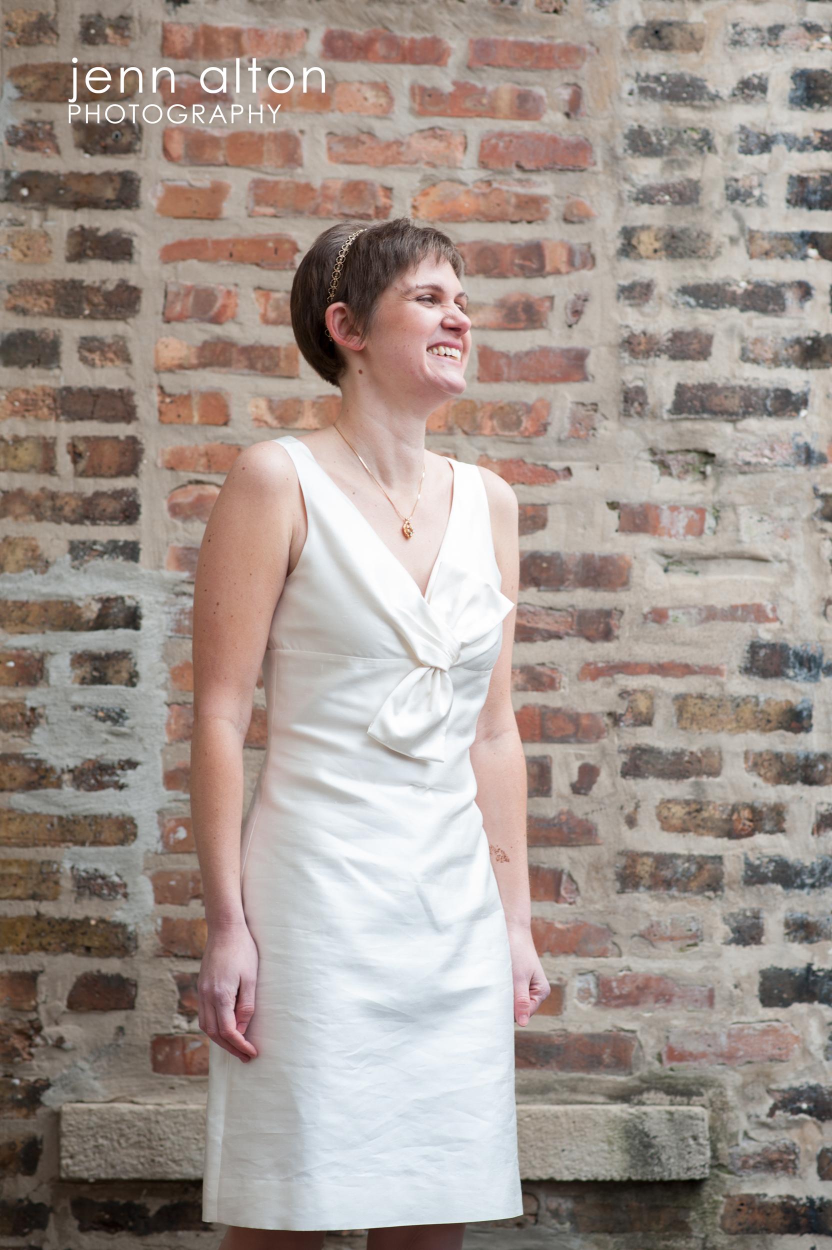 Bride , Uncommon Ground on Devon, brick walls