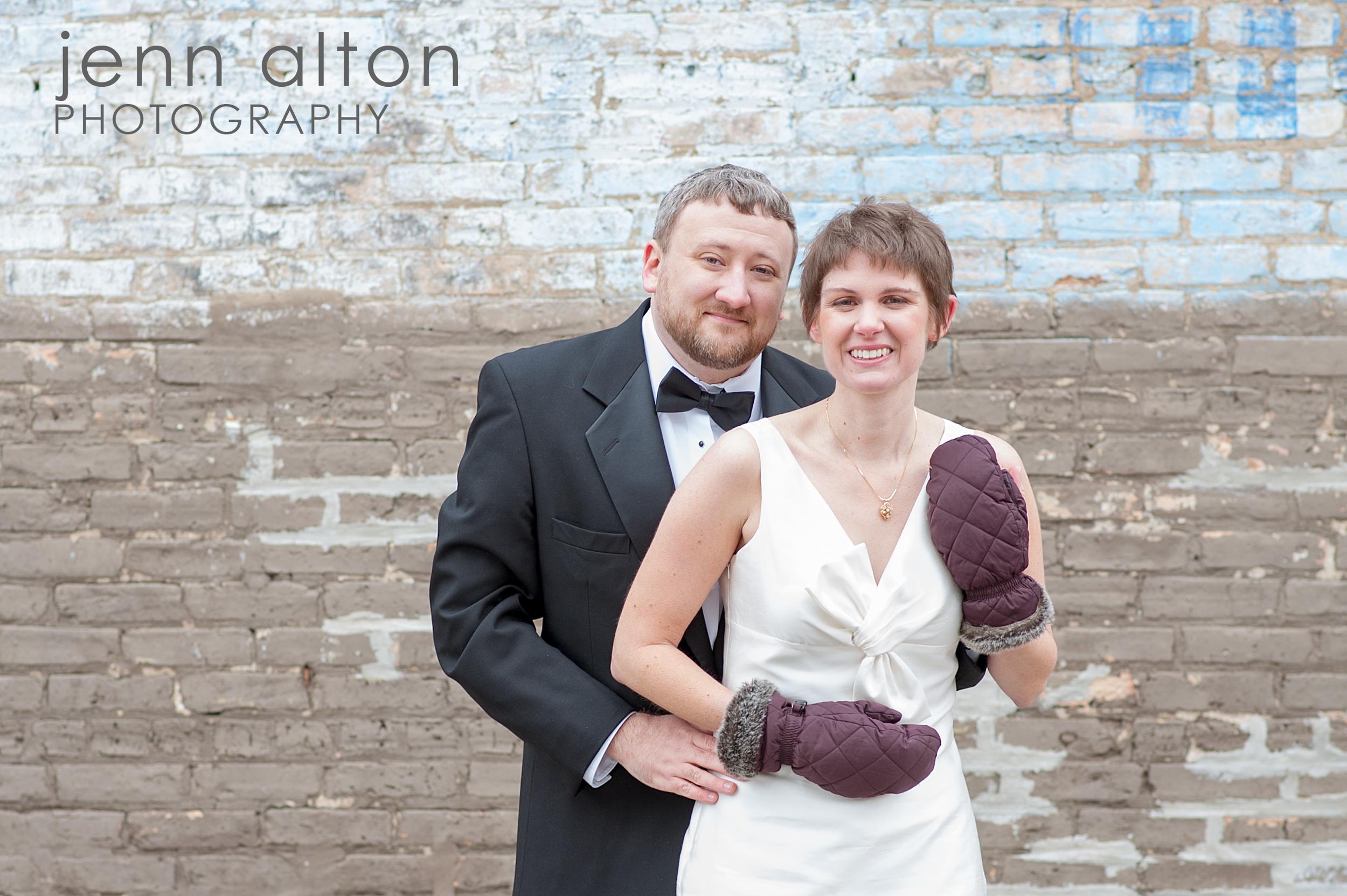Bride and Groom , Uncommon Ground on Devon, brick wall
