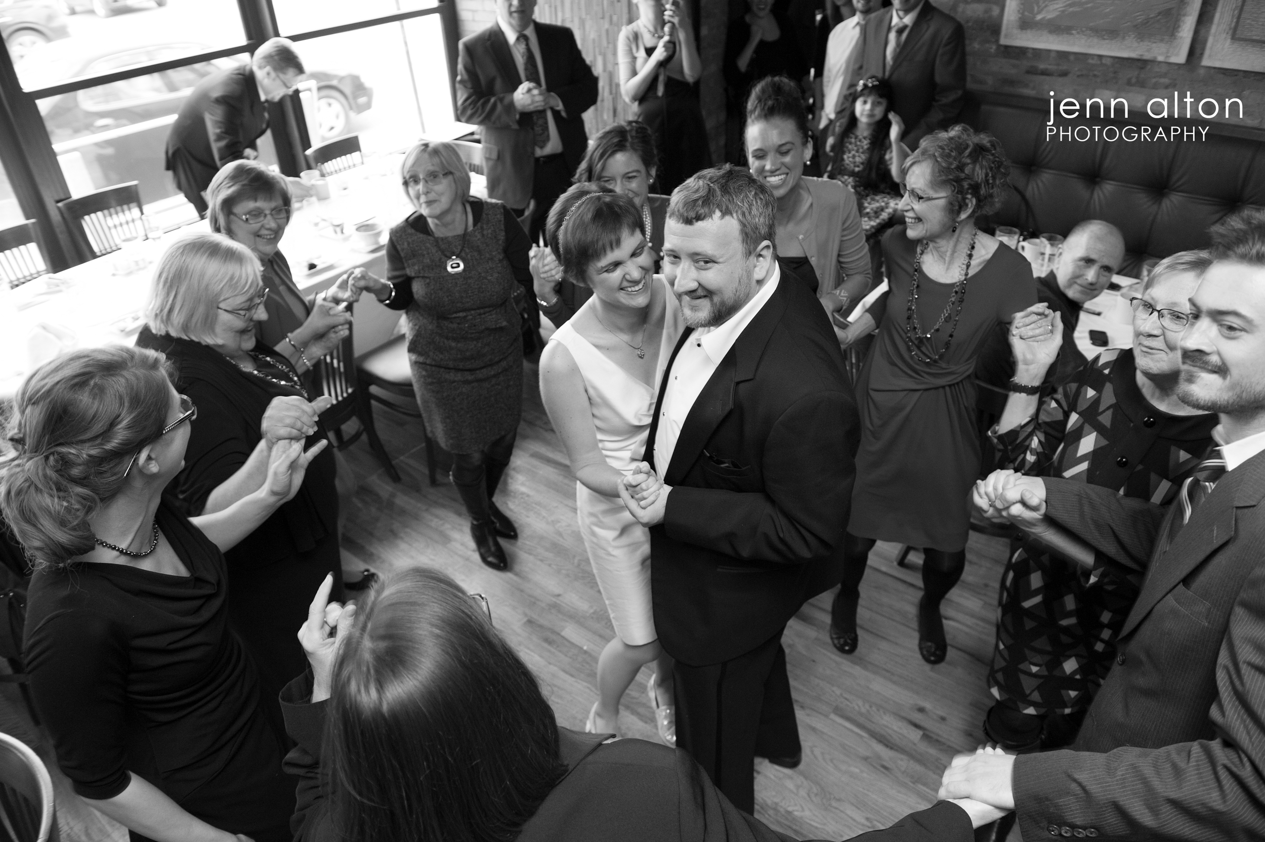 Bride, groom and and family dancing, Uncommon Ground on Devon, Chicago, IL.