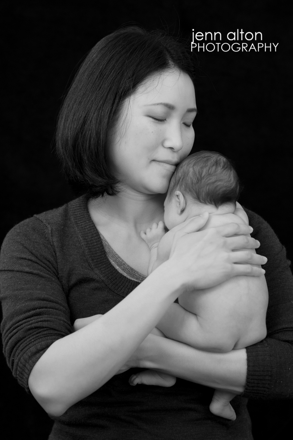 mom and newborn baby girl portrait, black and white