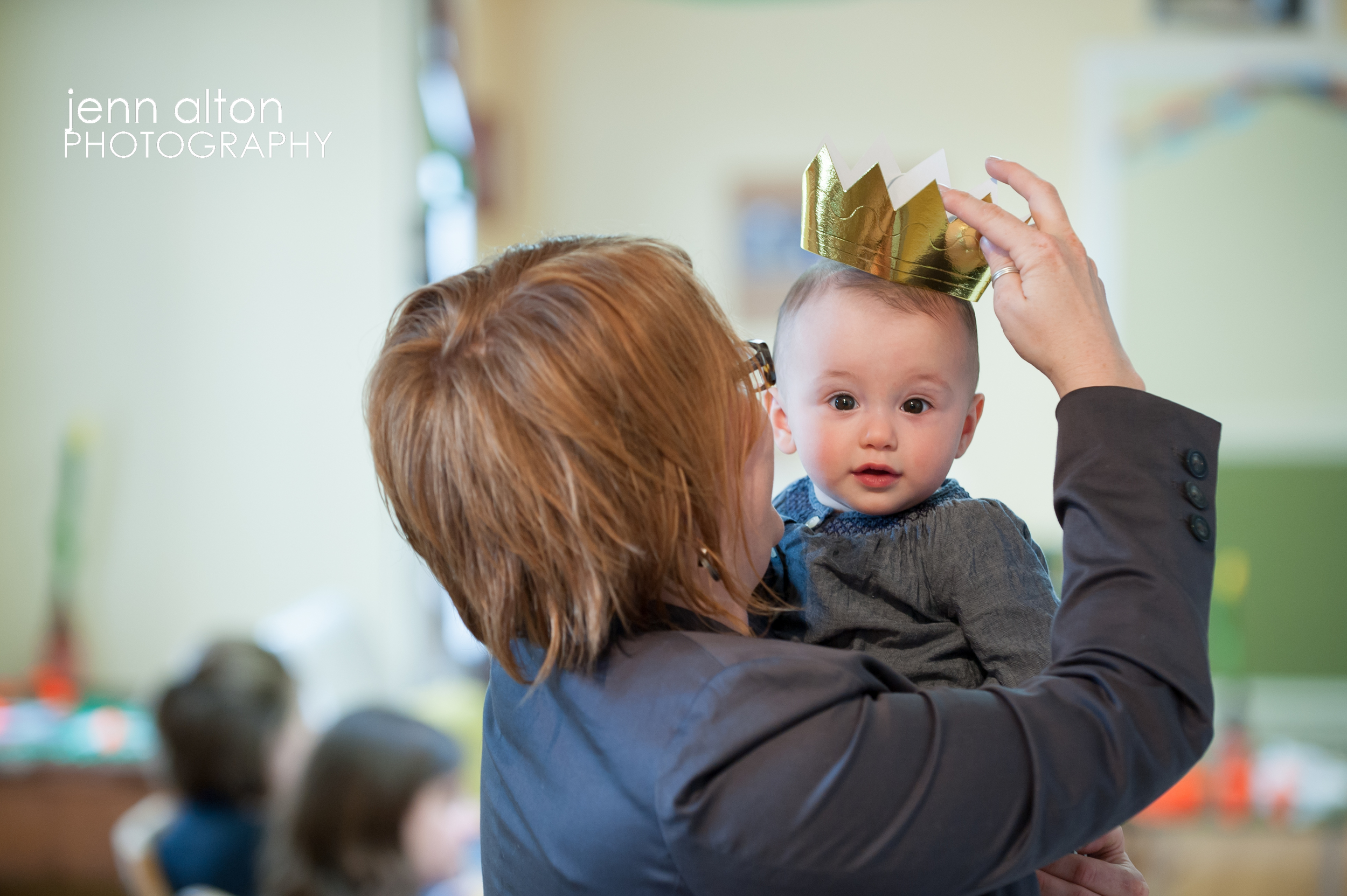 Baby with crown at baby shower