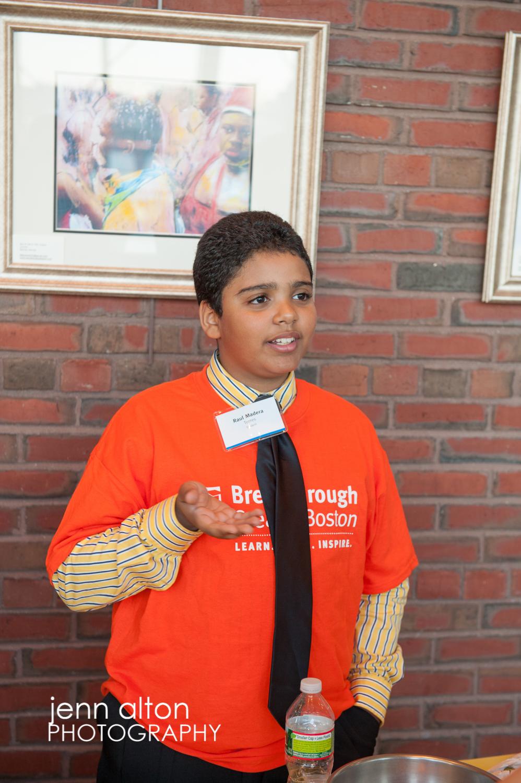 Breakthrough Springfest 2013 student explaining, Moakely Courthouse Boston