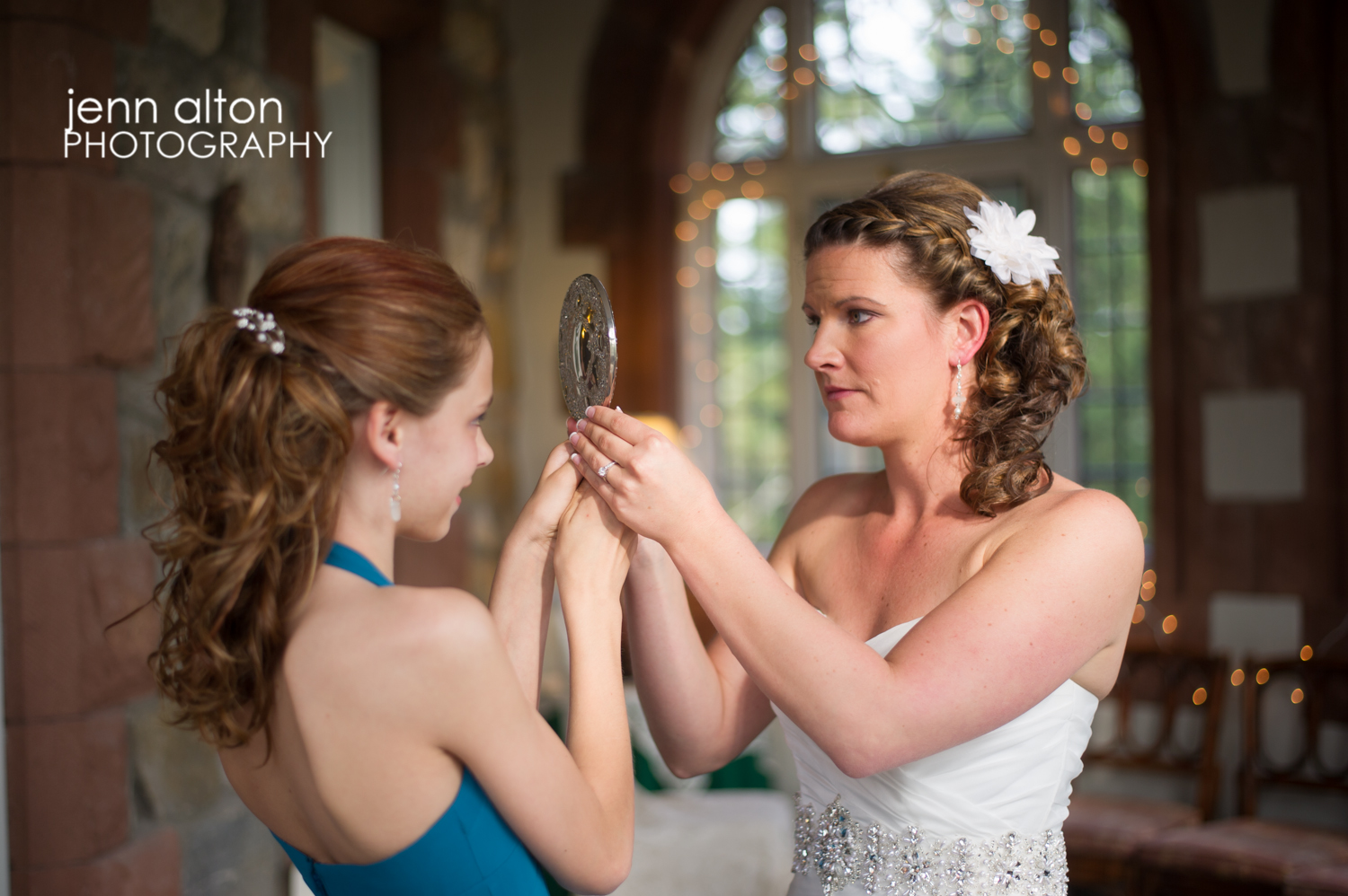 Bride and junior bridesmaid during getting ready, Searles Castle
