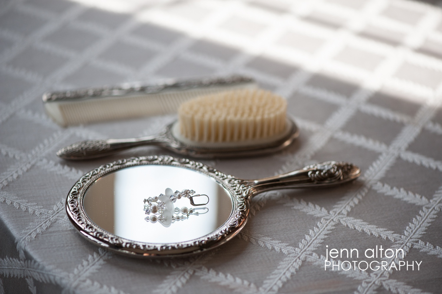 Earrings & comb, brush, mirror, wedding day, Searles Castle