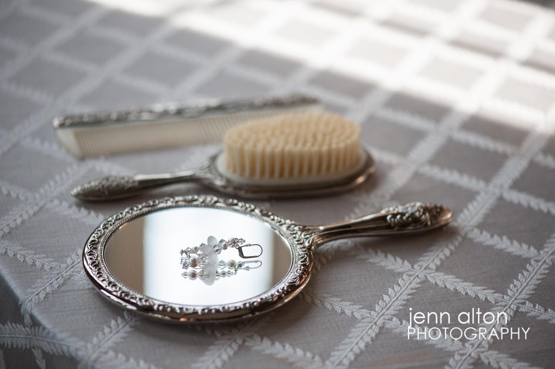 Earrings & comb, brush, mirror, wedding day, Searles Castle