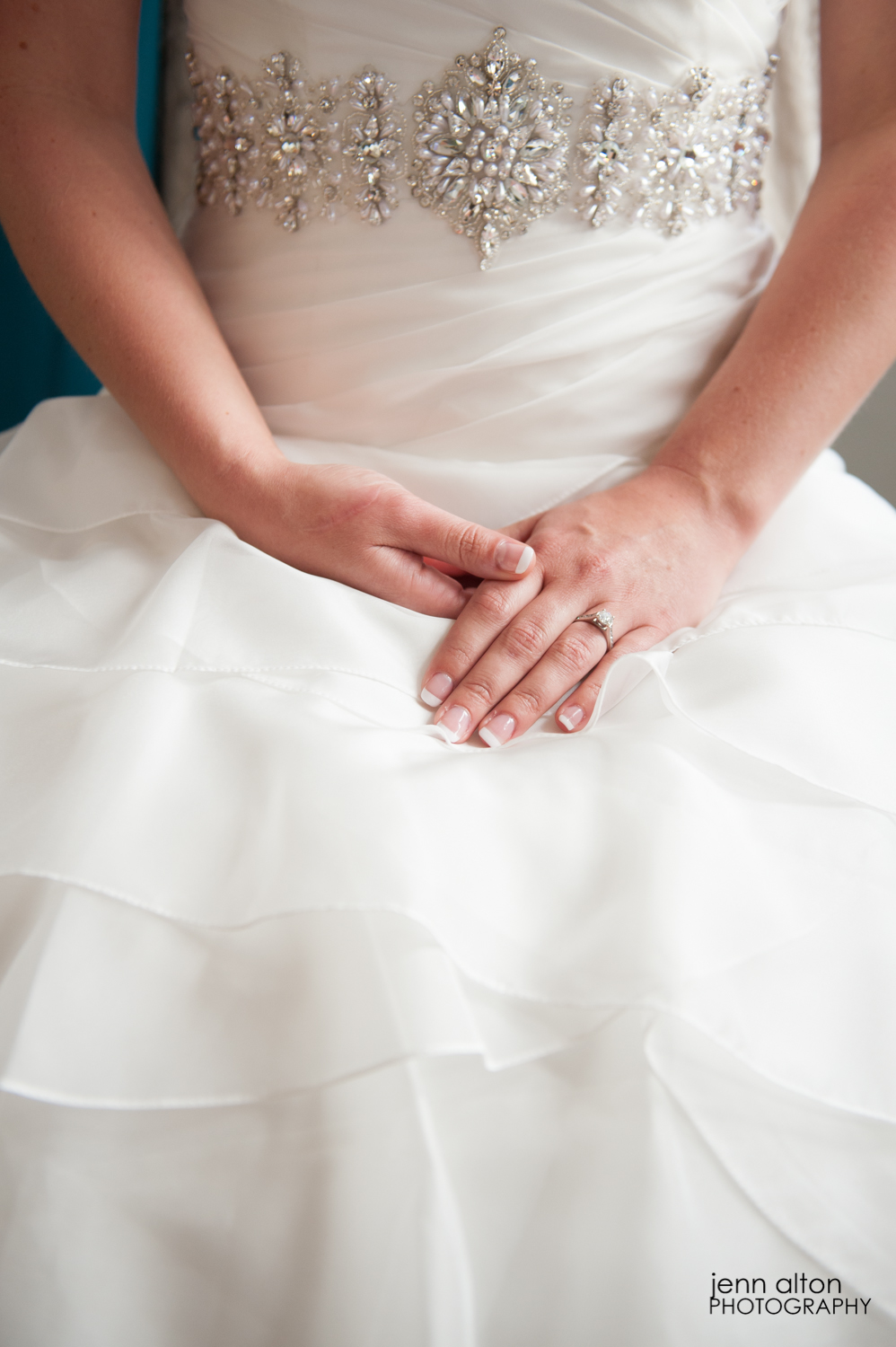 Bride, gown, ring detail, Searles Castle
