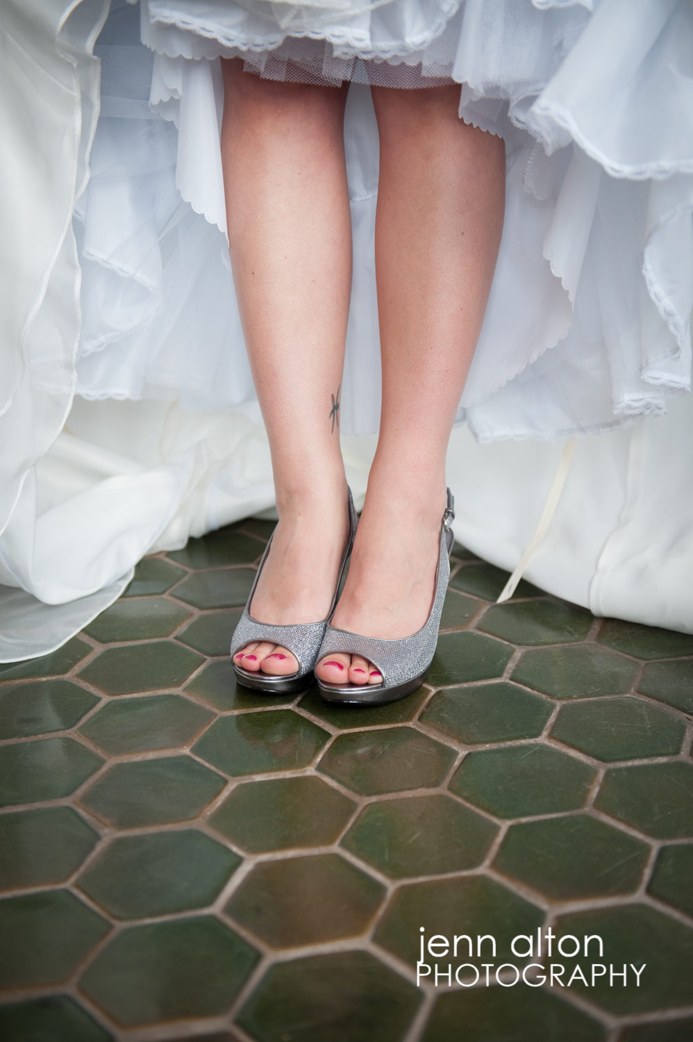 Bride gown and shoes, detail