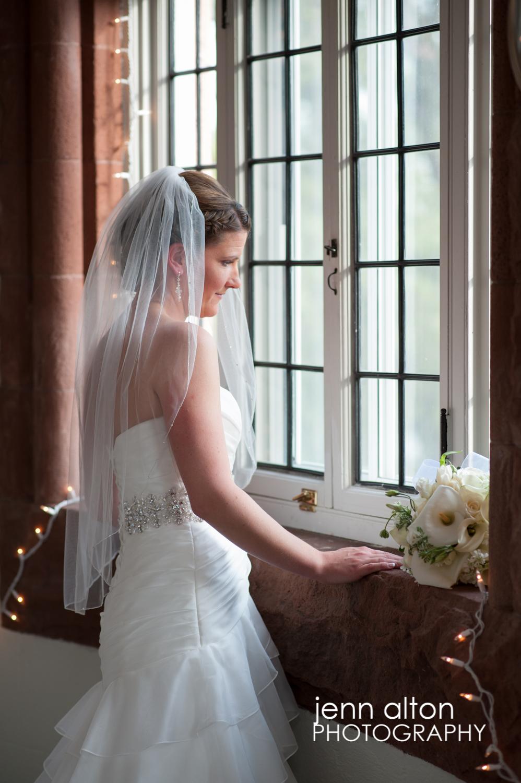 Bride in bridal suite before wedding, Searles Castle
