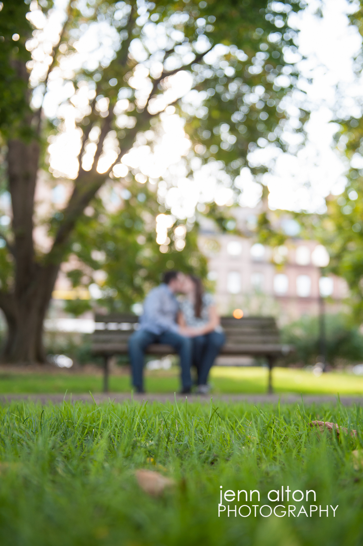 Couple engagement portrait, Boston Public Garden