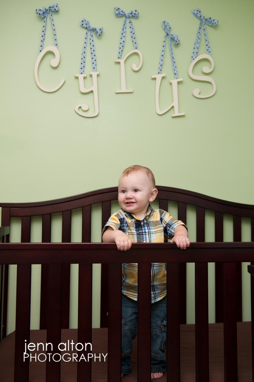 Boy in crib portrait