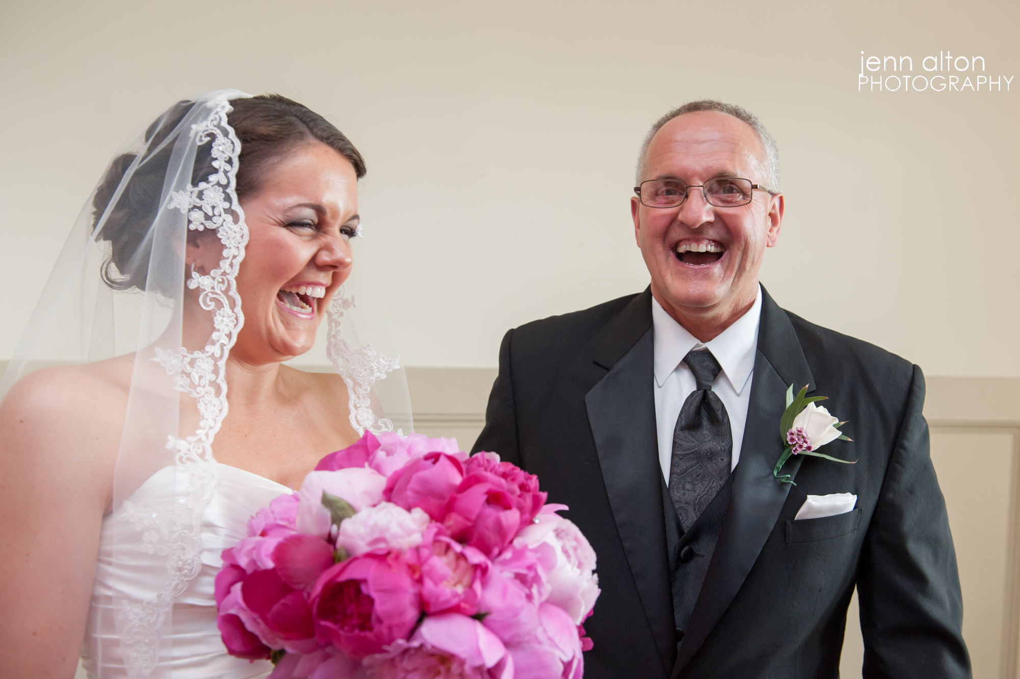 Father seeing bride for the first time on wedding day, Merrimack Valley