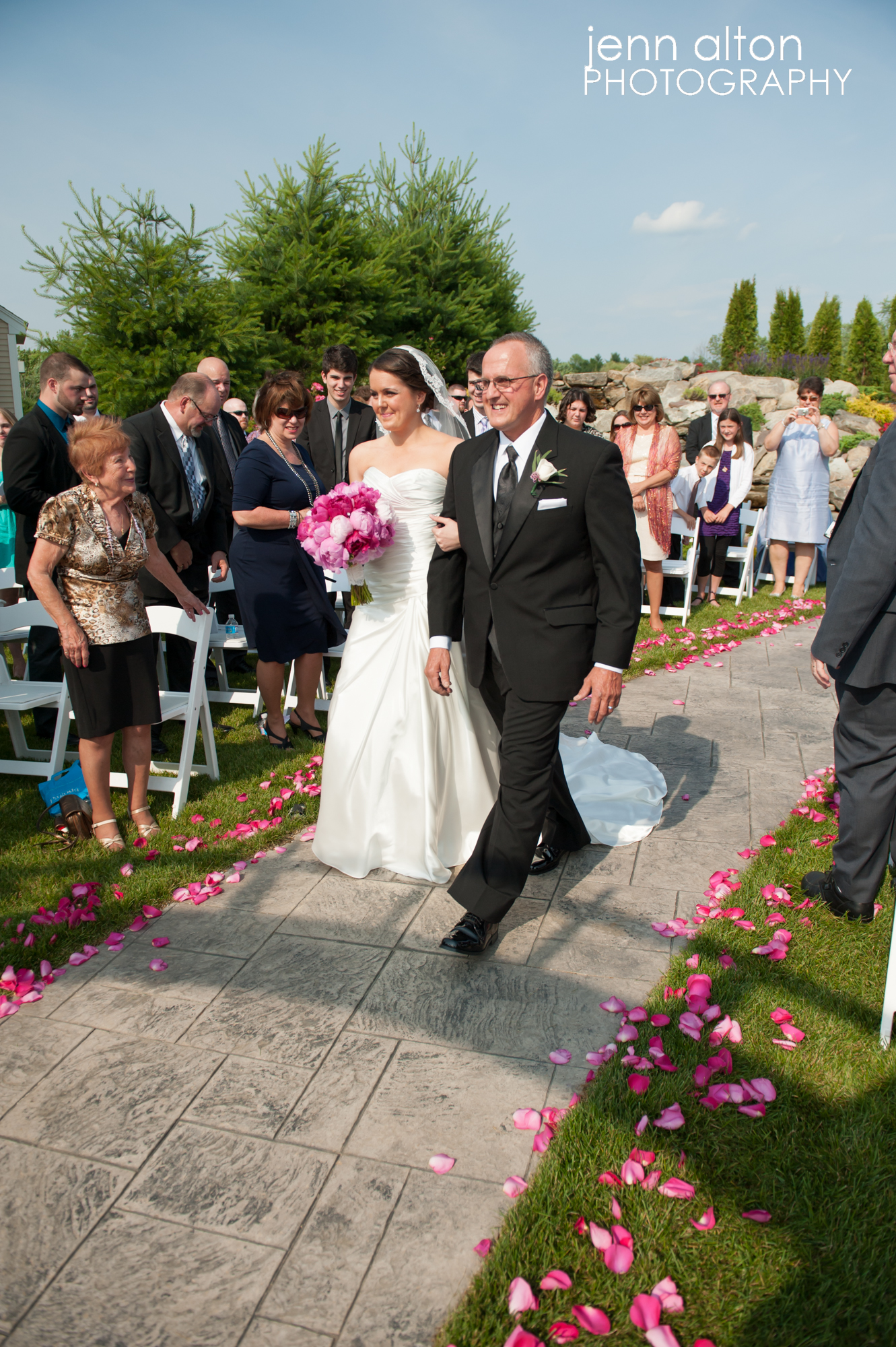 Bride walked in by father, Merrimack Valley