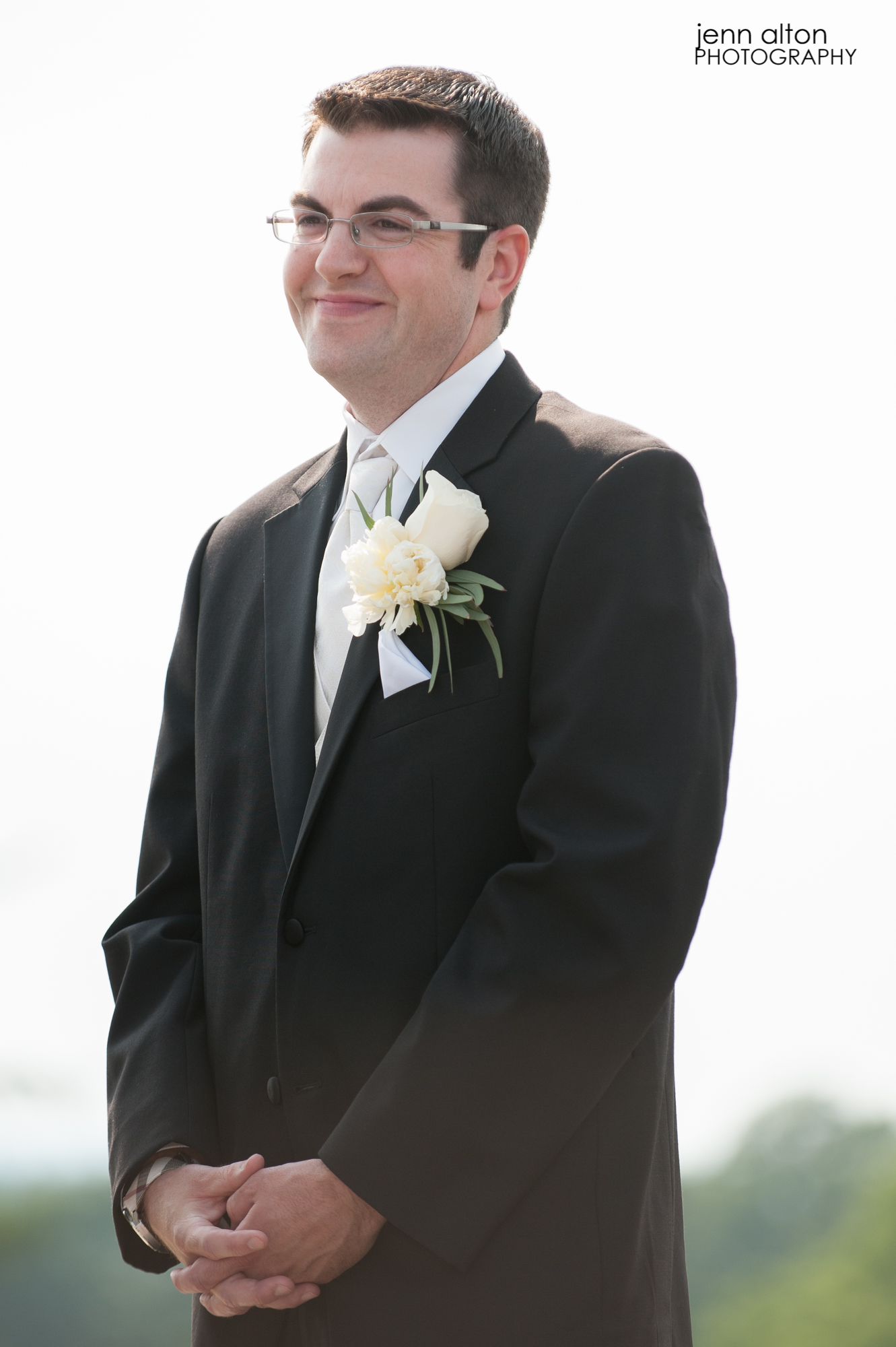 Groom during vows, Wedding, Merrimack Valley