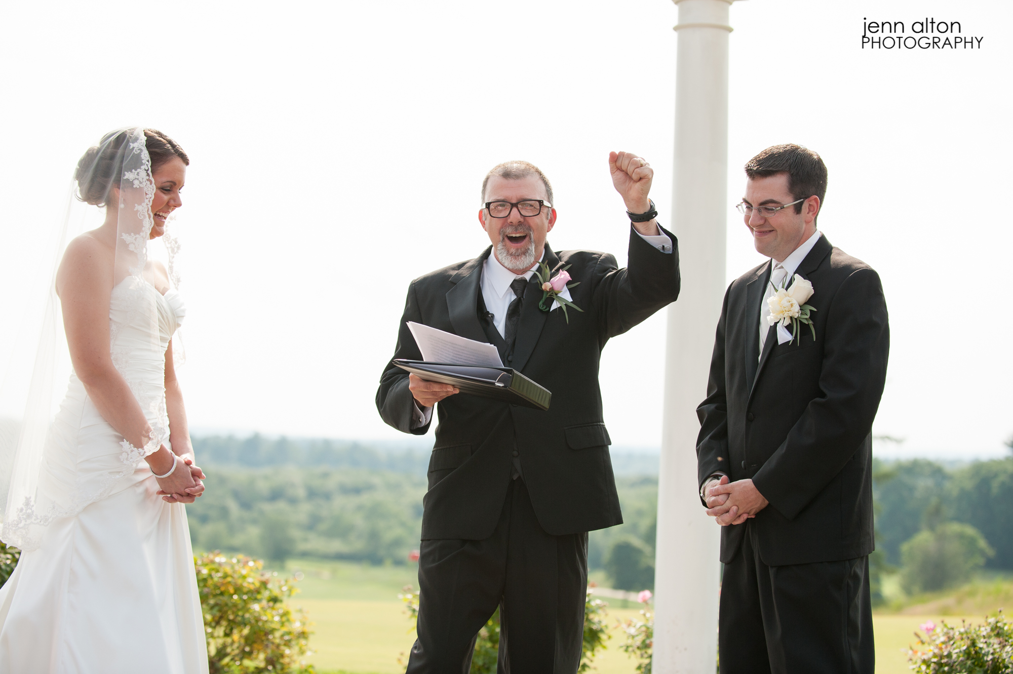 Bride and groom and Officiant, Wedding Ceremony
