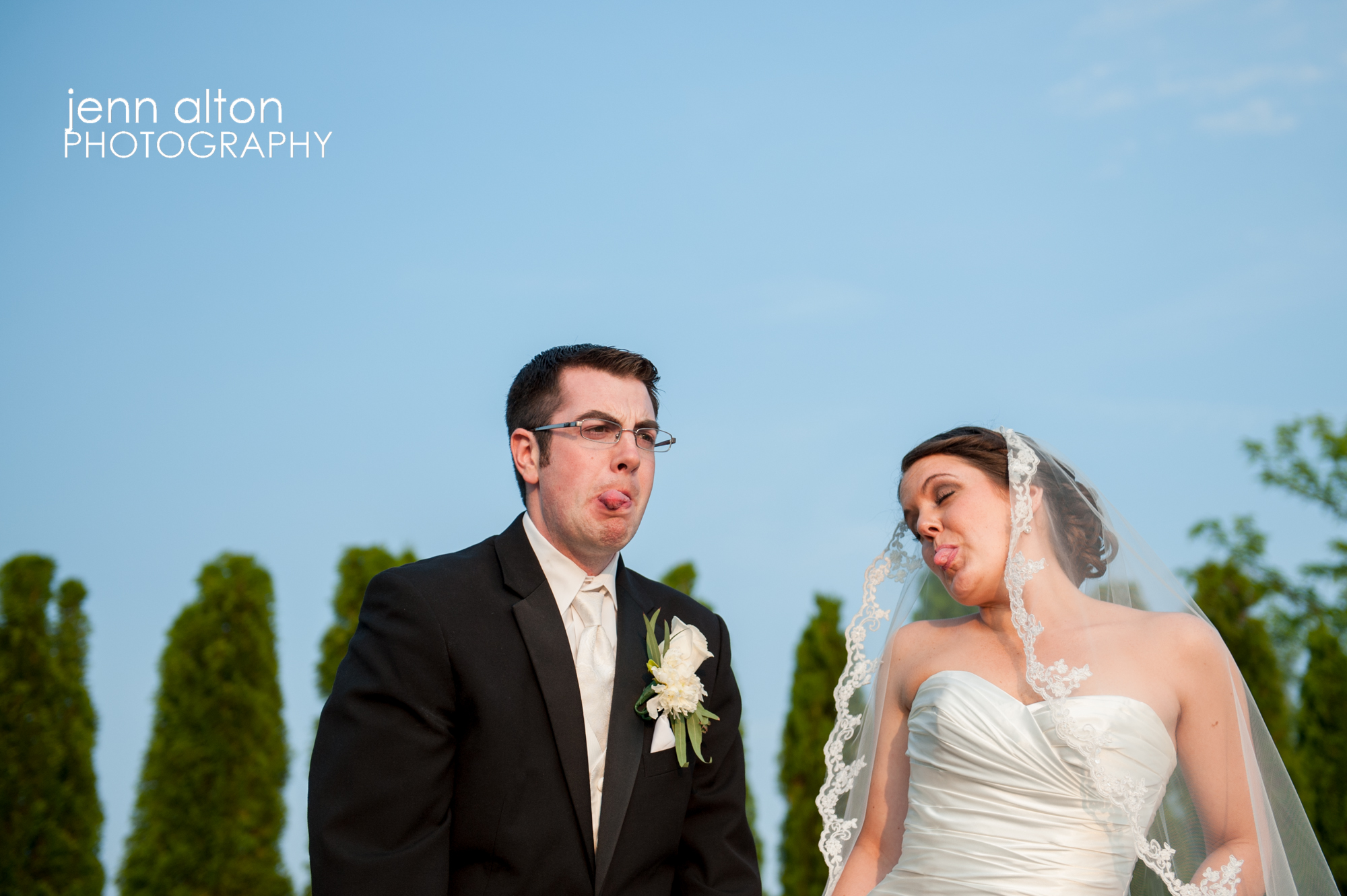 Non-serious, Bride and Groom portrait