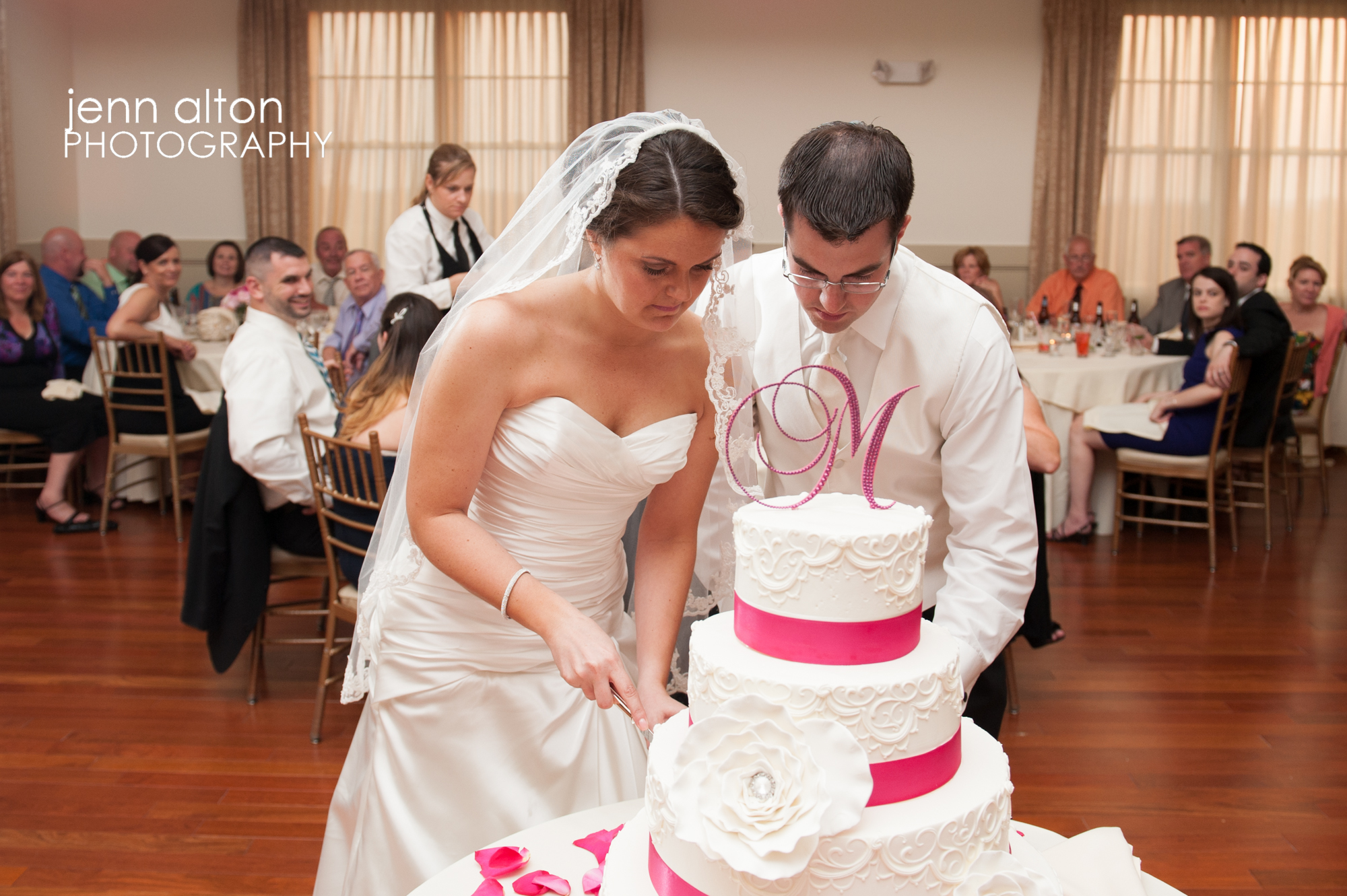 Cake cutting, bride and groom, Merrimack Valley