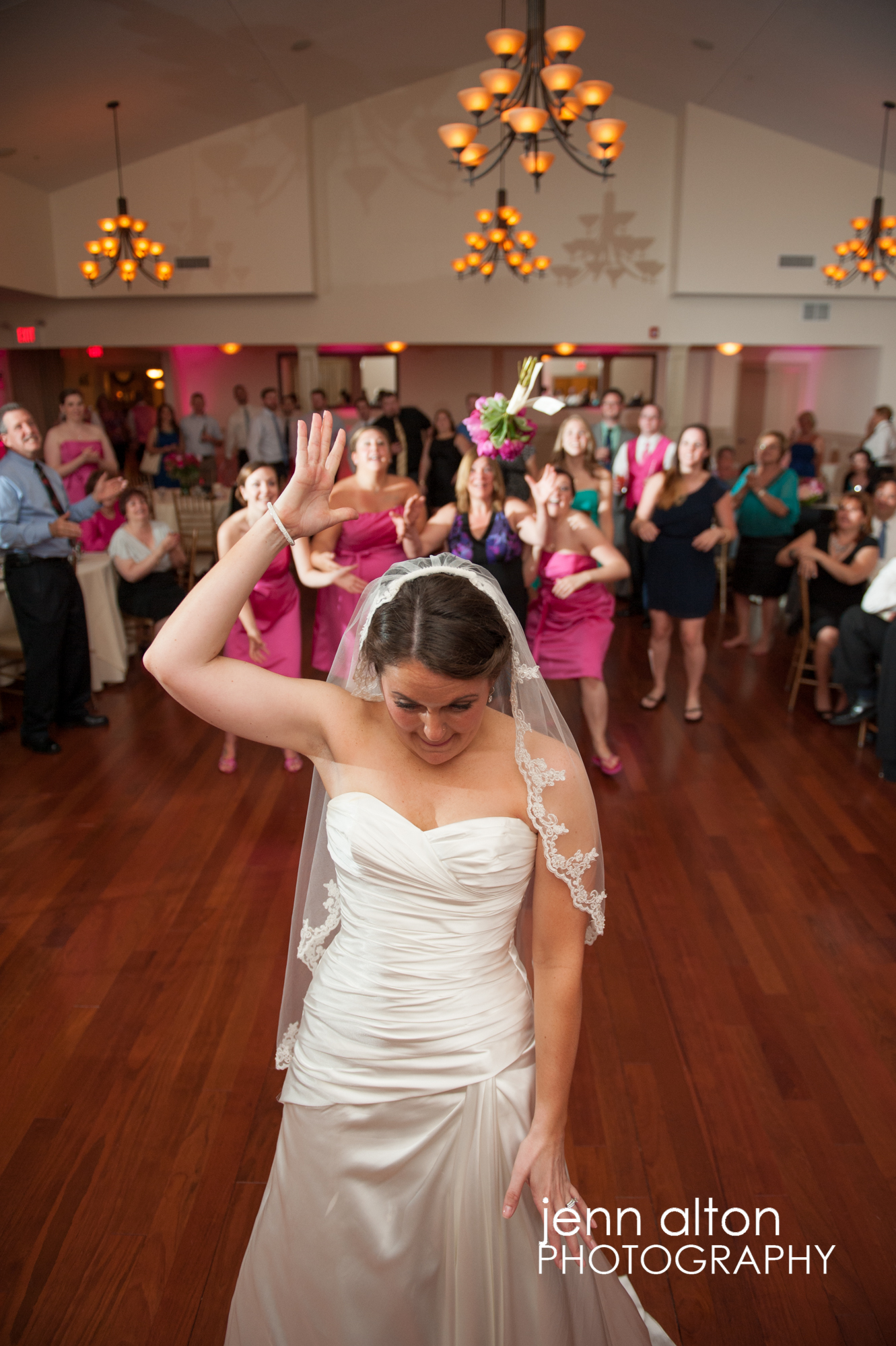 Bouquet Toss by bride, wedding tradition