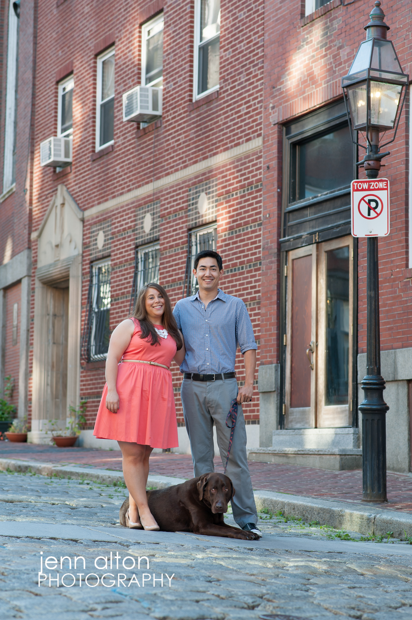 Engagement couple and dog in North End, Boston