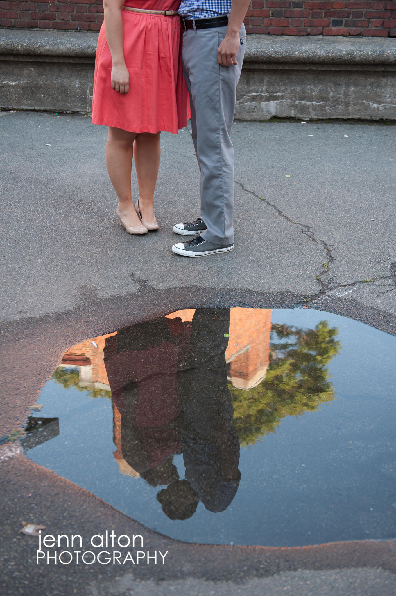 Engagement couple puddle reflection, North End, Boston