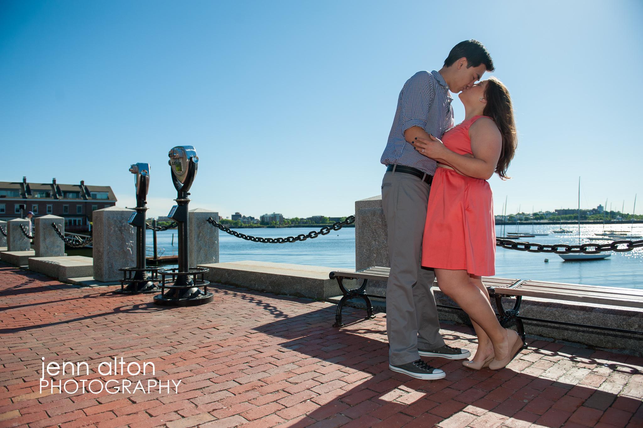 Engagement couple, Waterfront, Echo Park, Boston