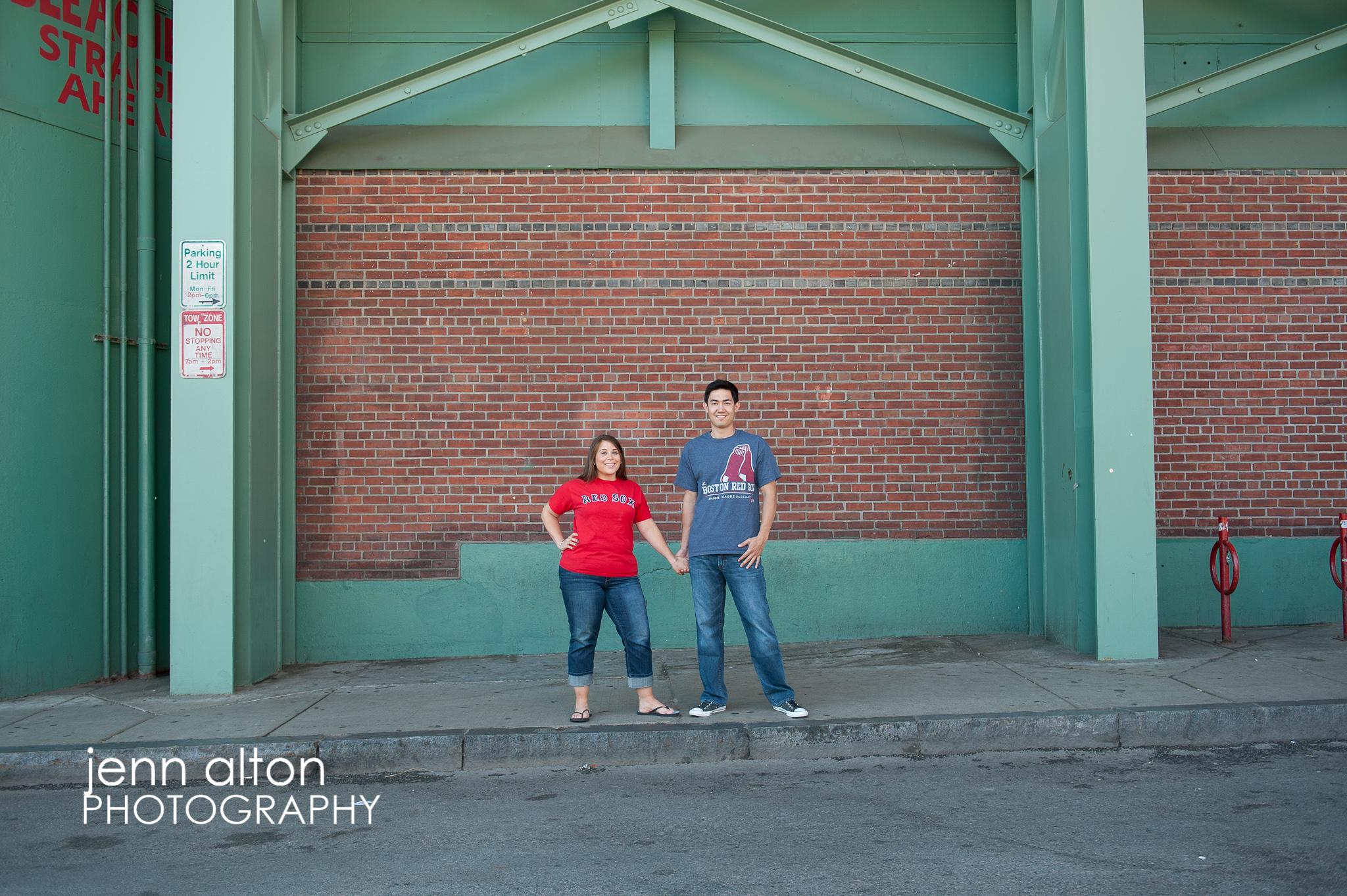 Engagement couple, Fenway Park, Boston