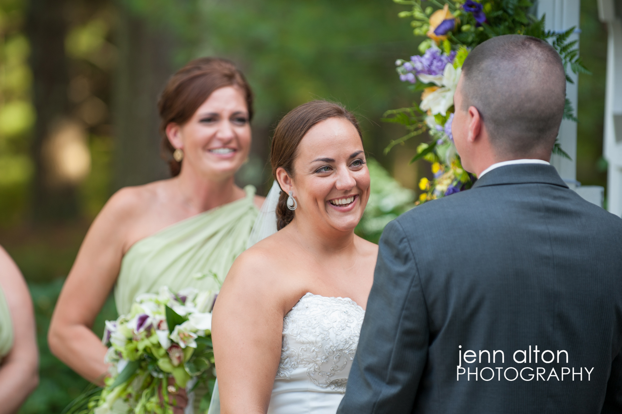 Bride and Groom saying vows, Pinehills Golf Club Ceremony