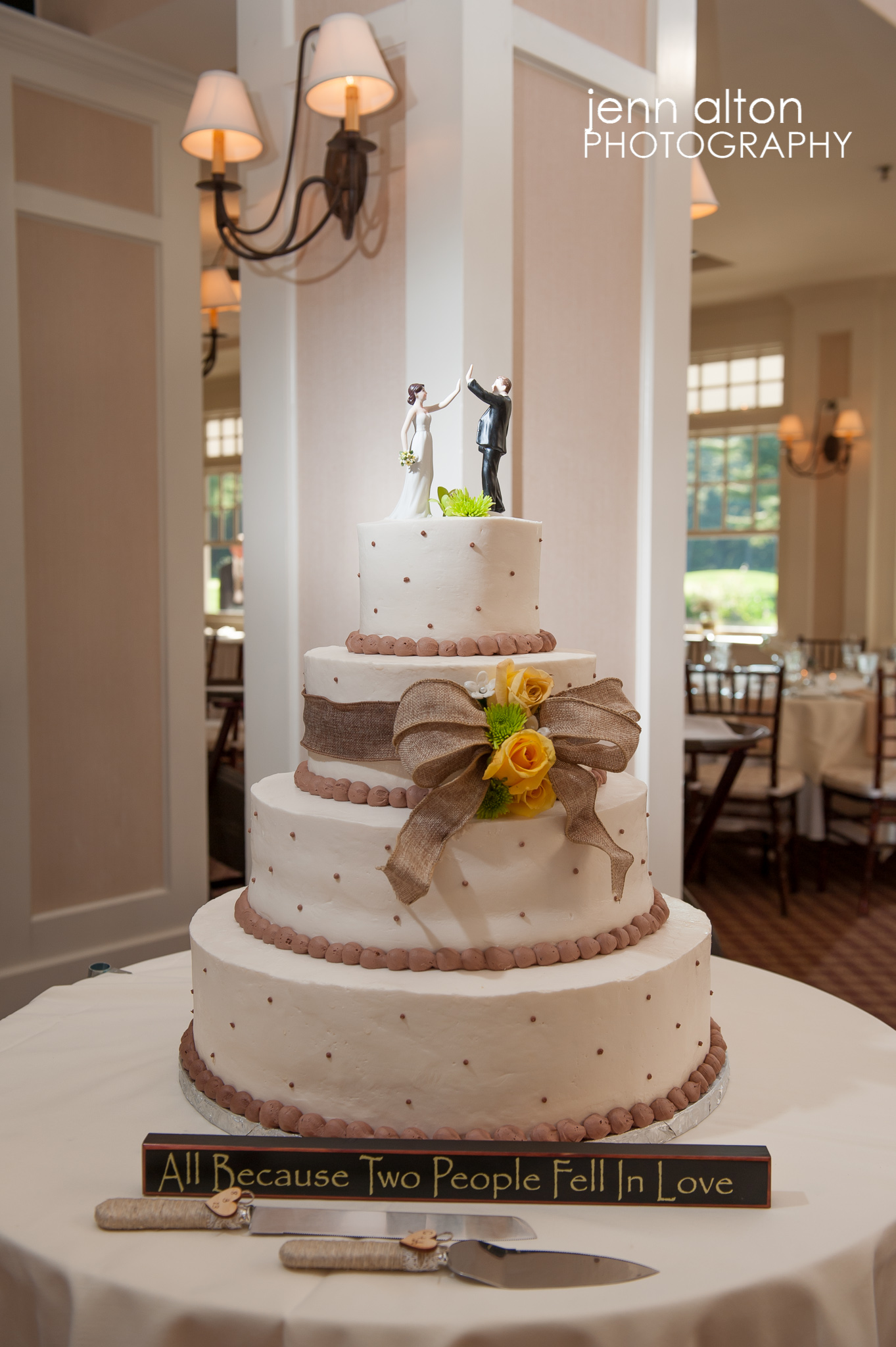 Wedding Cake, brown yellow green with burlap and high fiving cake topper