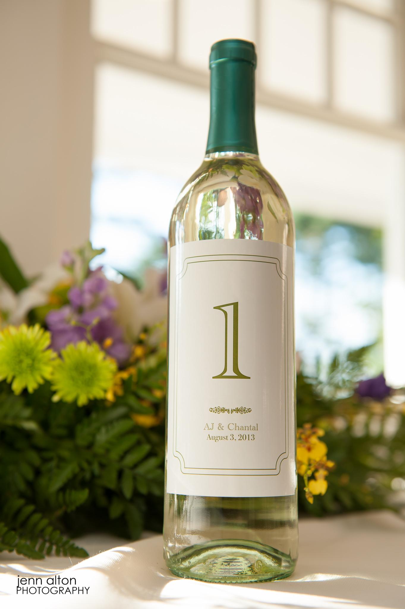Custom Label Wine bottle at wedding