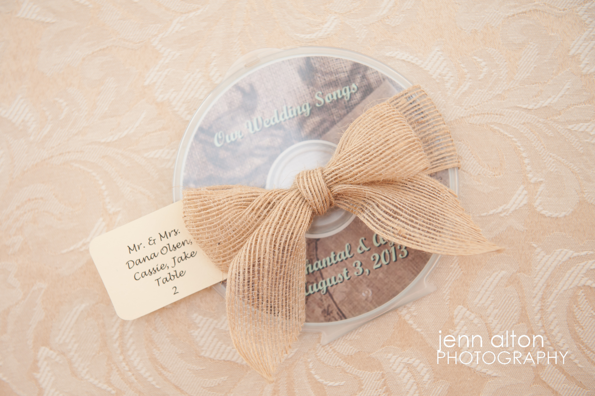 Personalized CD of songs for Wedding favors, burlap bow, Pinehills Golf Club Wedding Reception