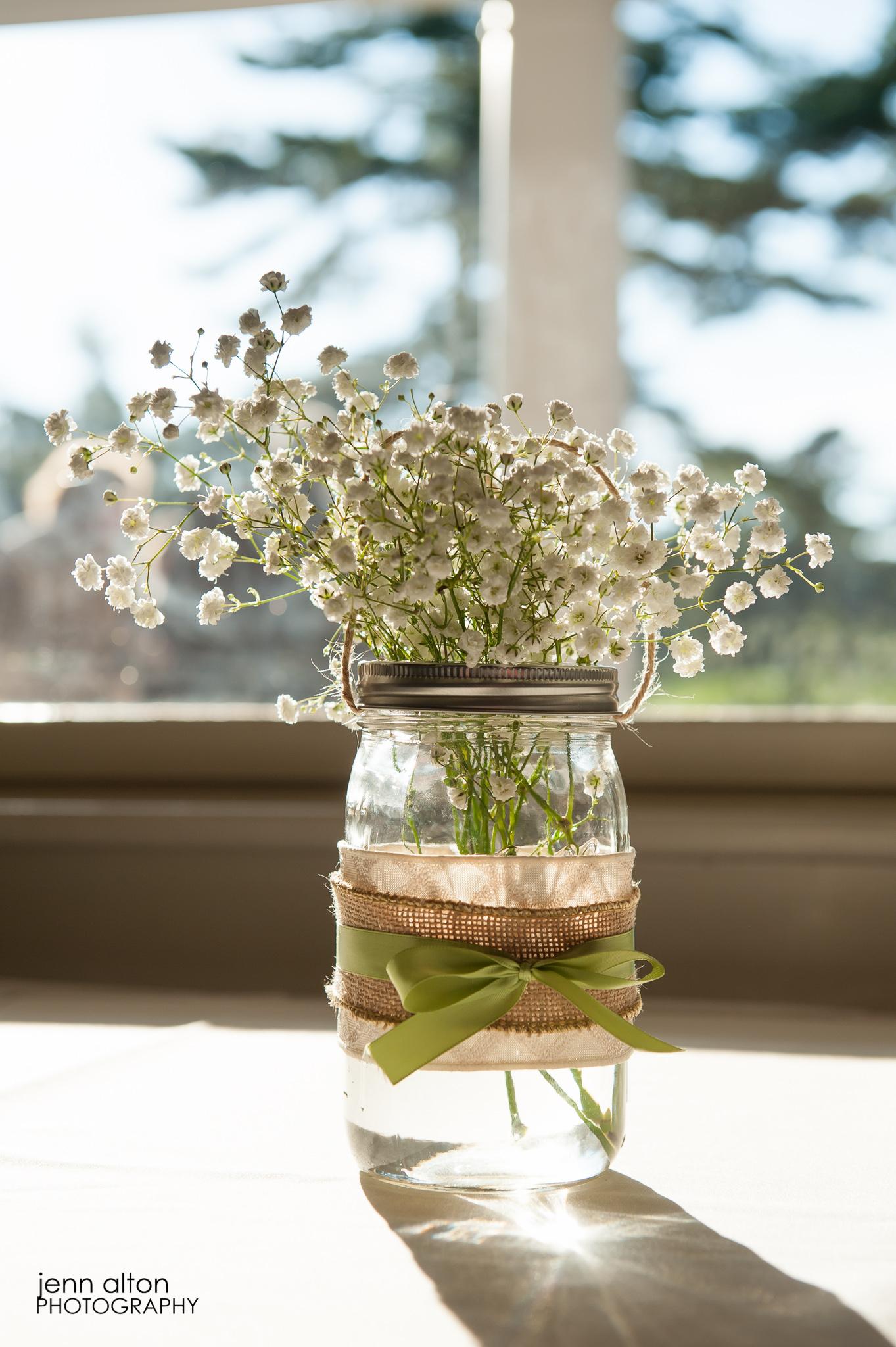 Baby's breath, mason jar, burlap centerpieces, Pinehills Golf Club Wedding Reception