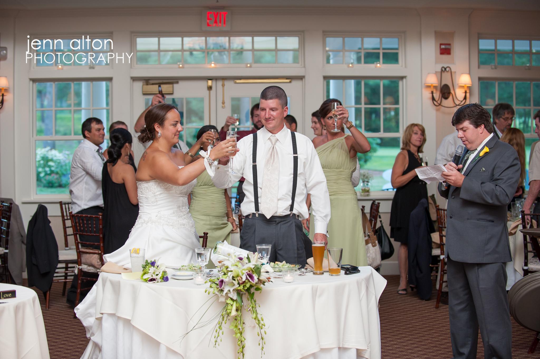 Toasts of bride and groom, Pinehills Golf Club Wedding Reception