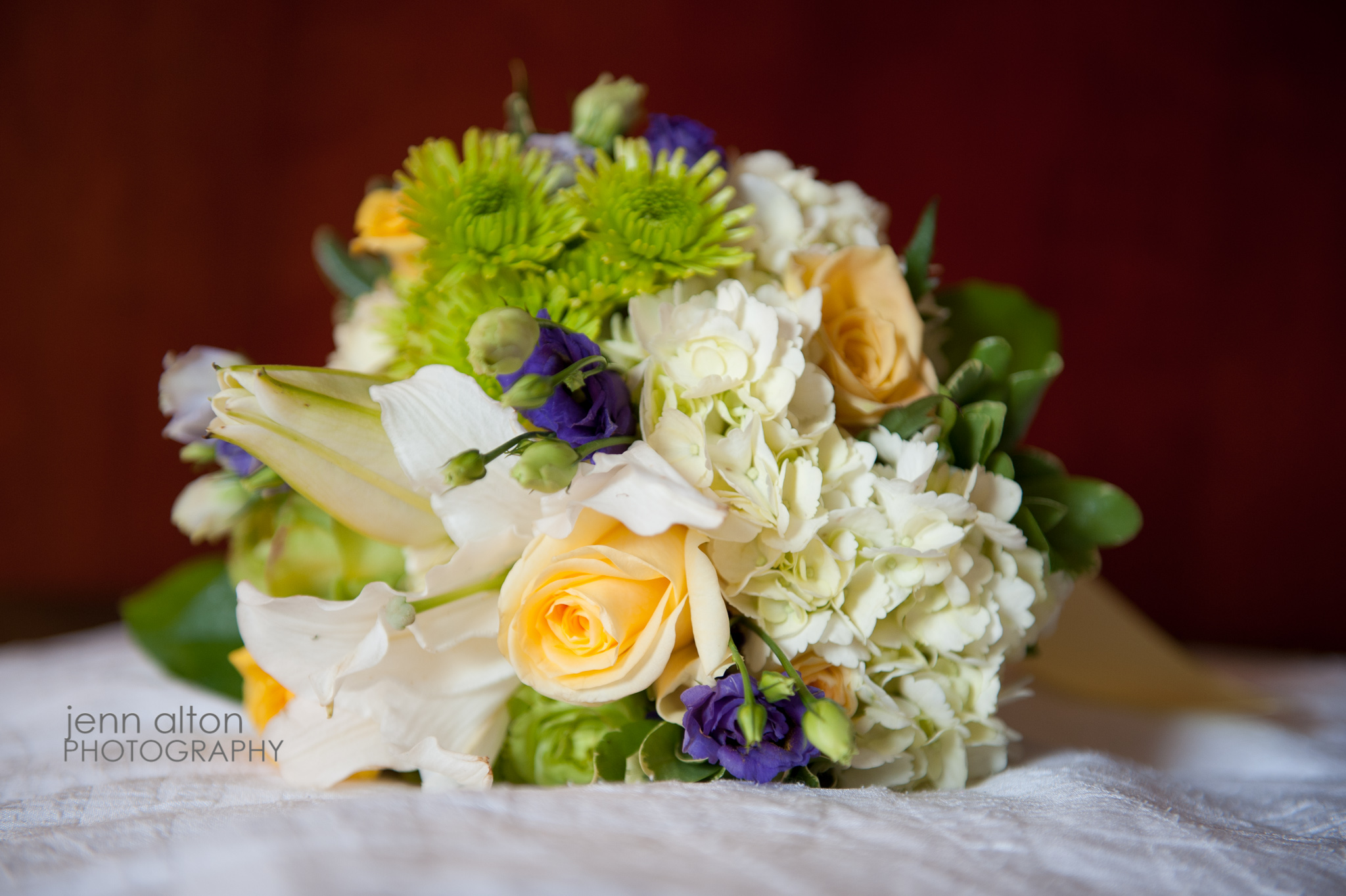 Bridesmaid Bouquet, yellow purple green and white