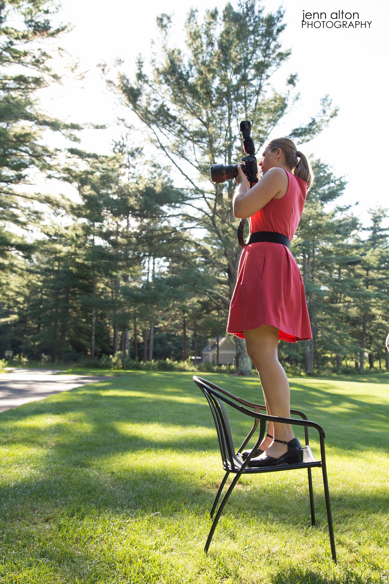 Photographer on a chair