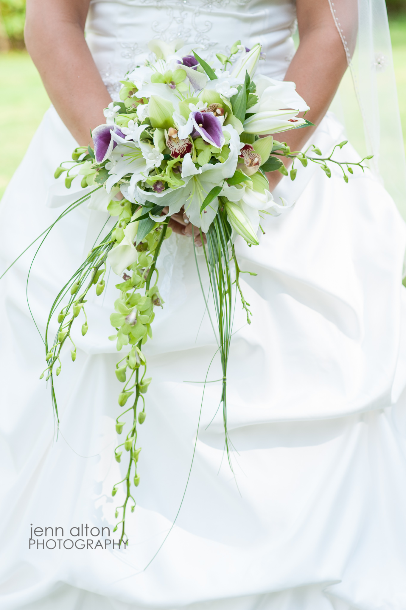 Cascading Bridal Bouquet, purple, white and green