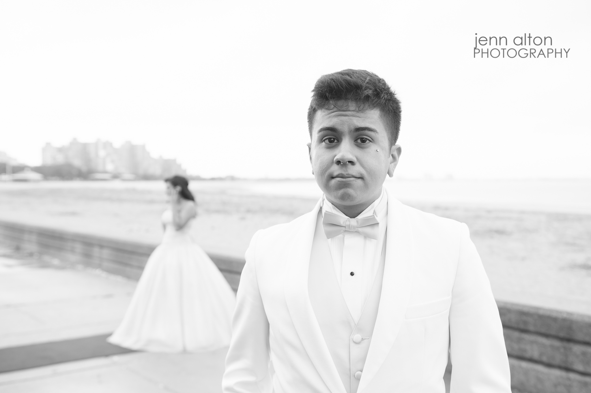 Chambelan and Quinceanera pose, Revere Beach