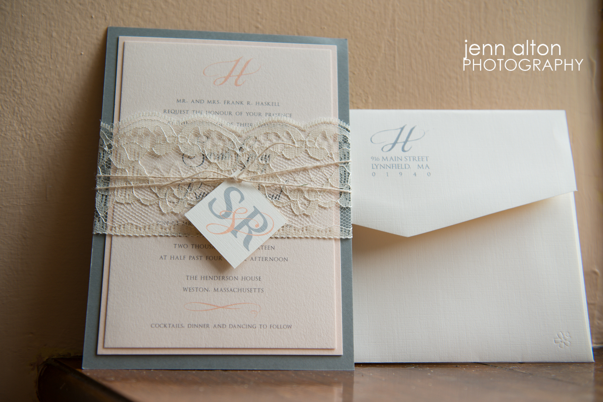 Wedding Invite with lace and initials