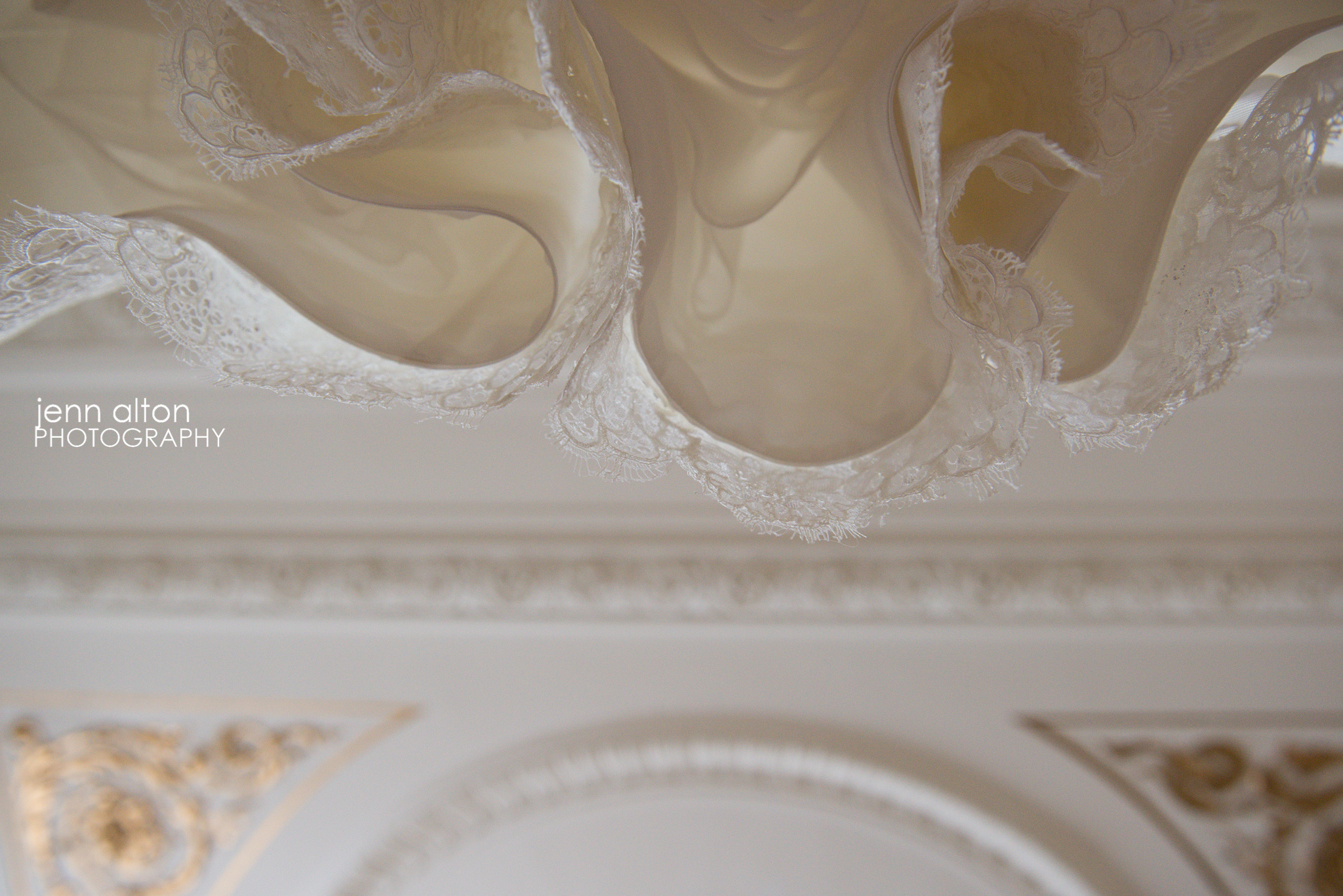 Bridal Gown lace and ceiling at Henderson House