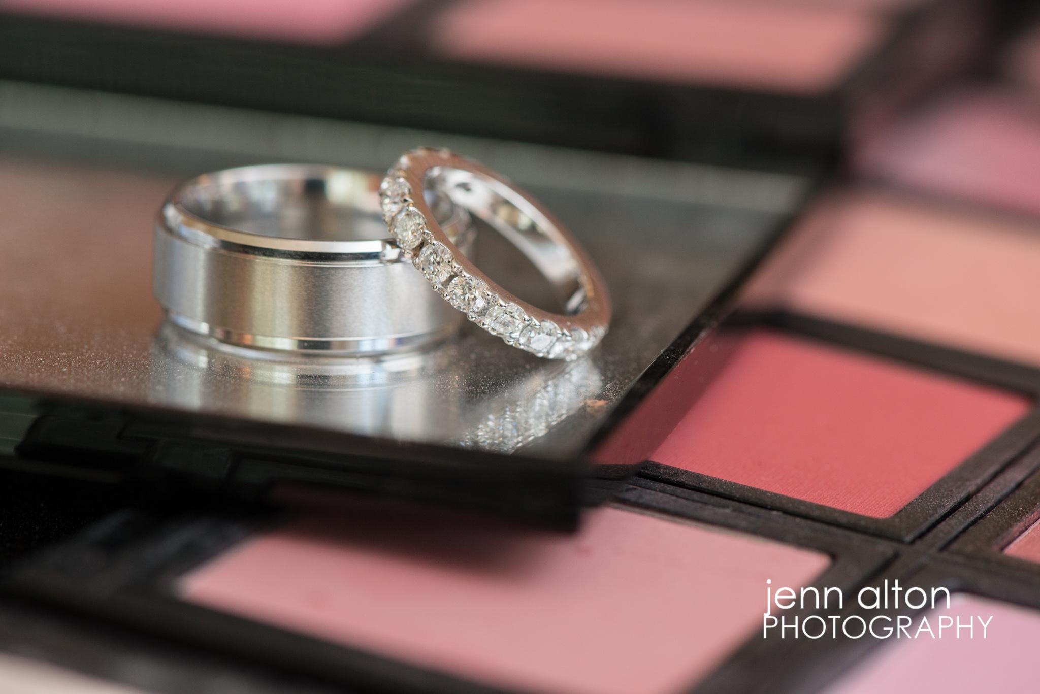 Wedding Bands macro shot on makeup palet