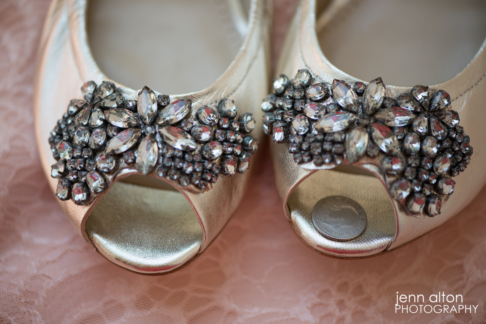 Bride's shoes with Six Pence, Henderson House