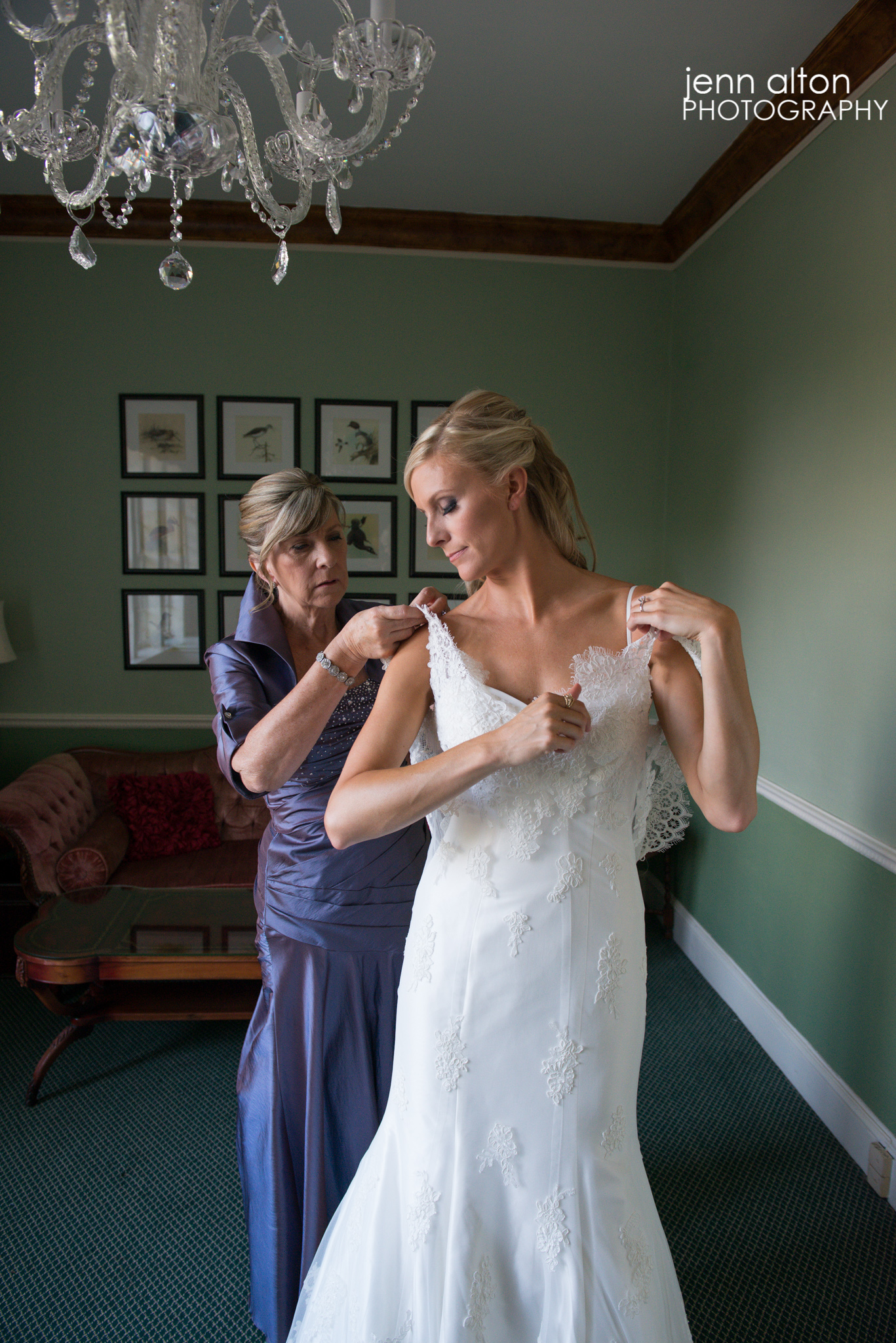 Bride and Mother of the Bride final touches on Dress, Henderson House