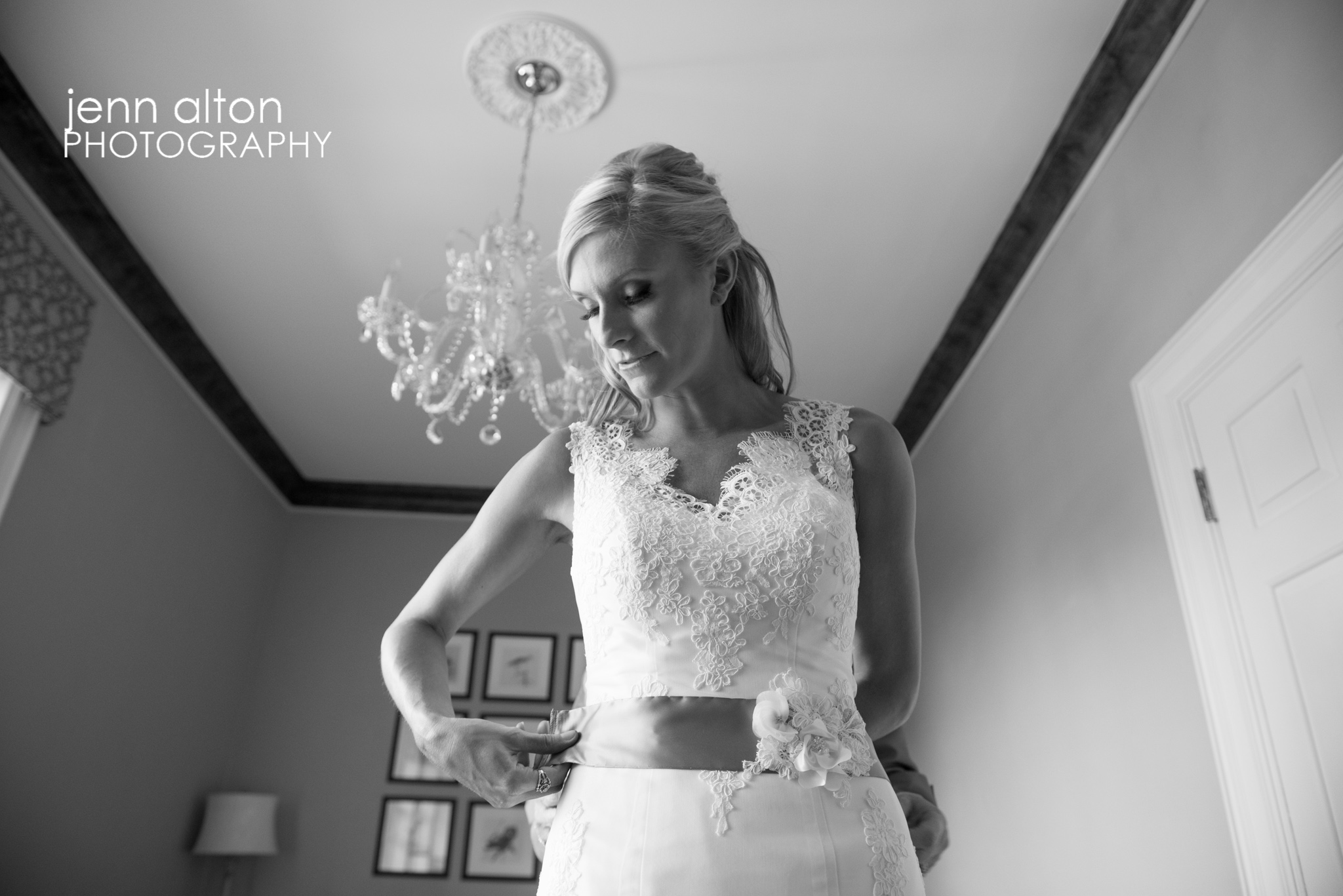 Bride final touches on Dress, Henderson House